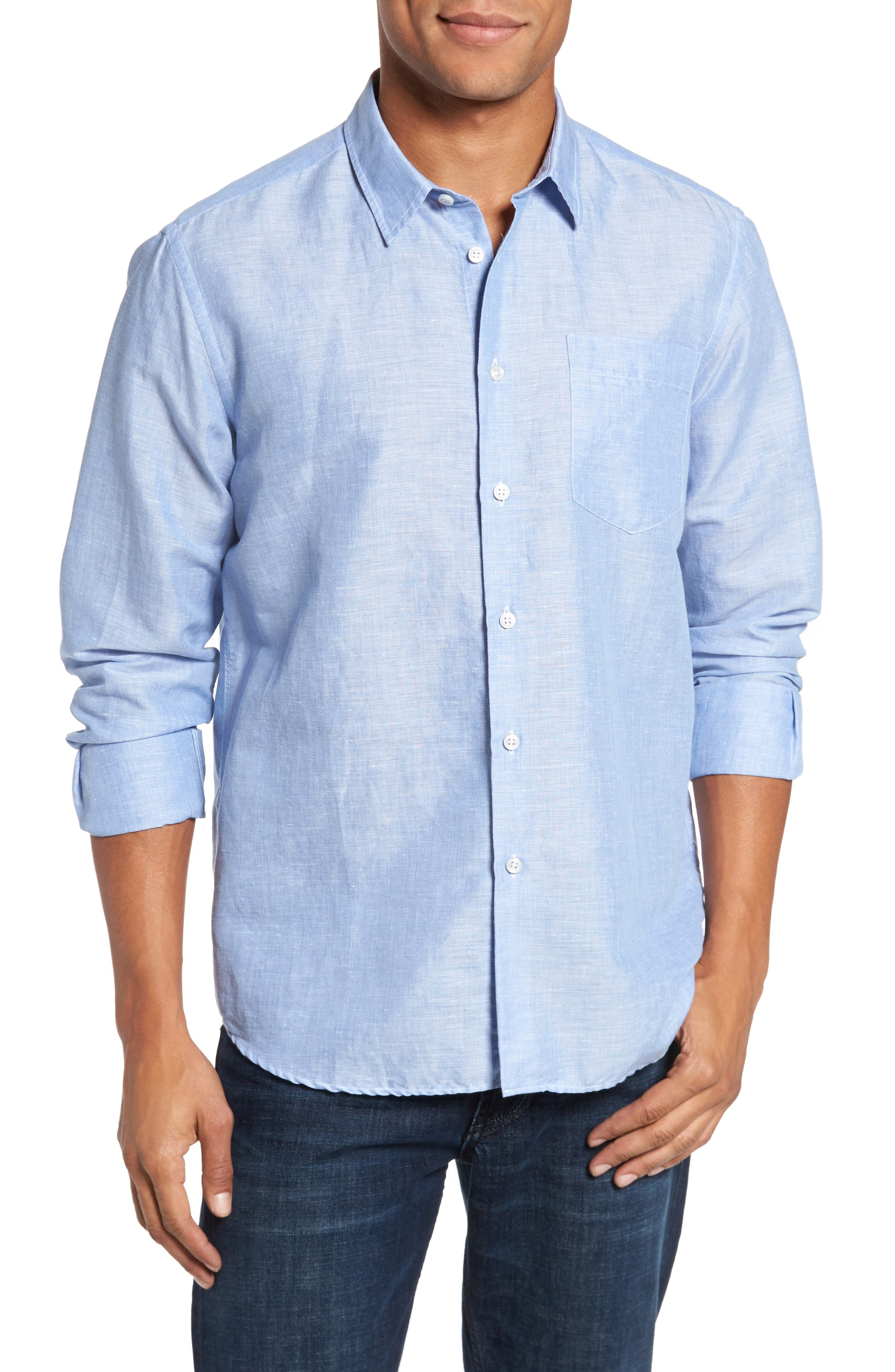 Linen & Cotton Sport Shirt,                         Main,                         color, Blue Jean