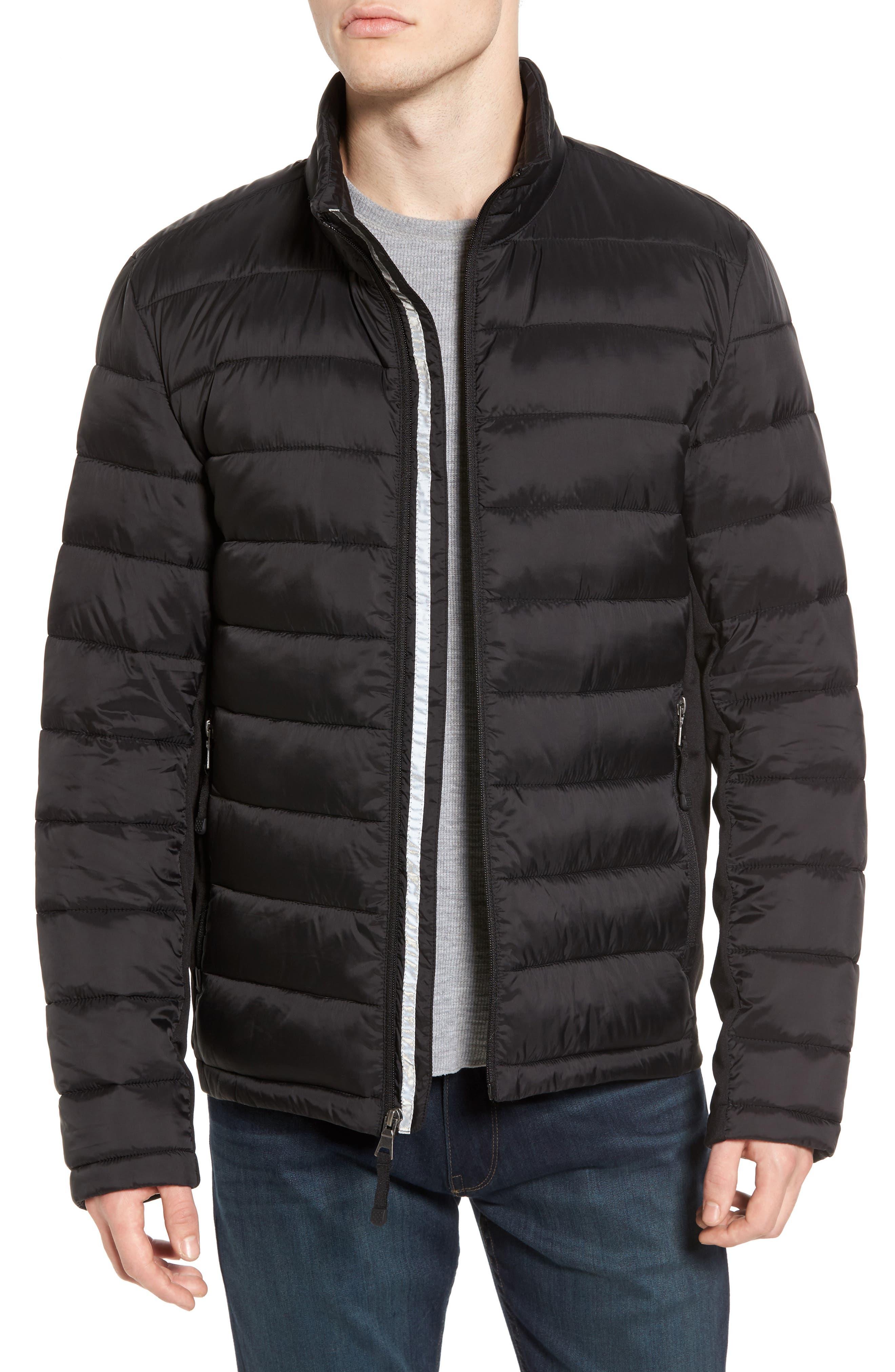 Black Rivet Water Resistant Packable Puffer Jacket