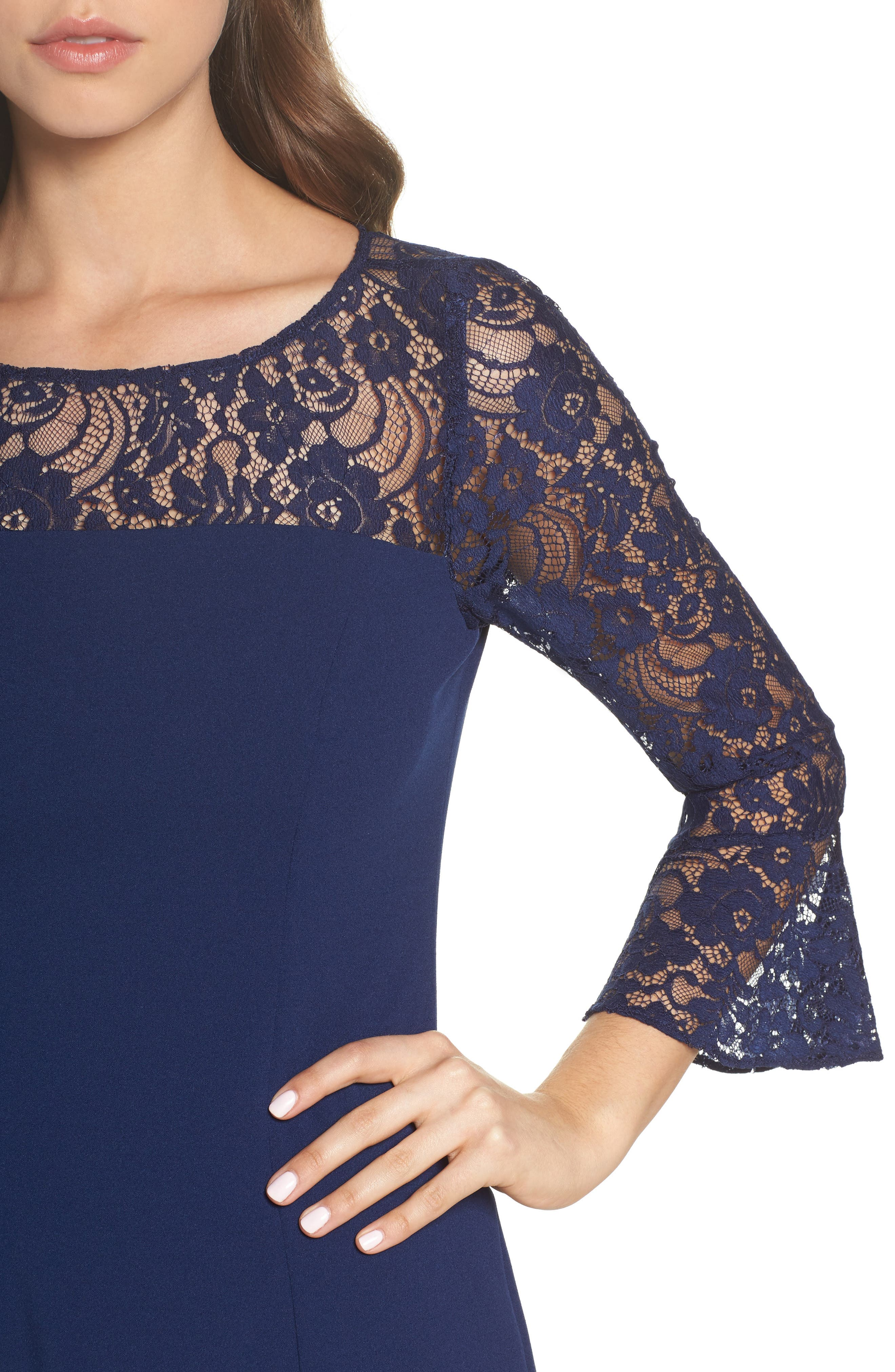 Alternate Image 4  - Adrianna Papell Lace & Crepe Dress