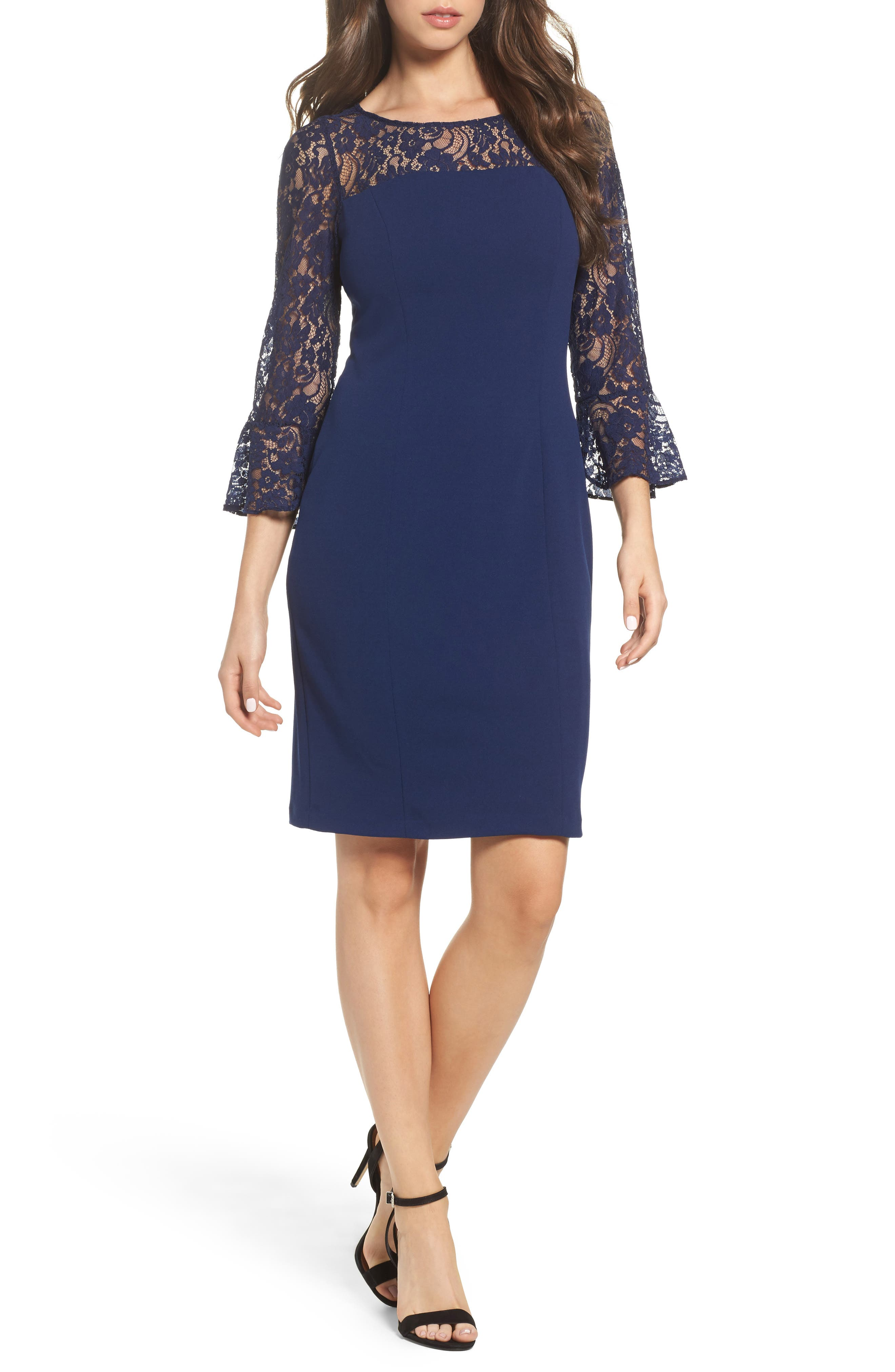 Alternate Image 1 Selected - Adrianna Papell Lace & Crepe Dress