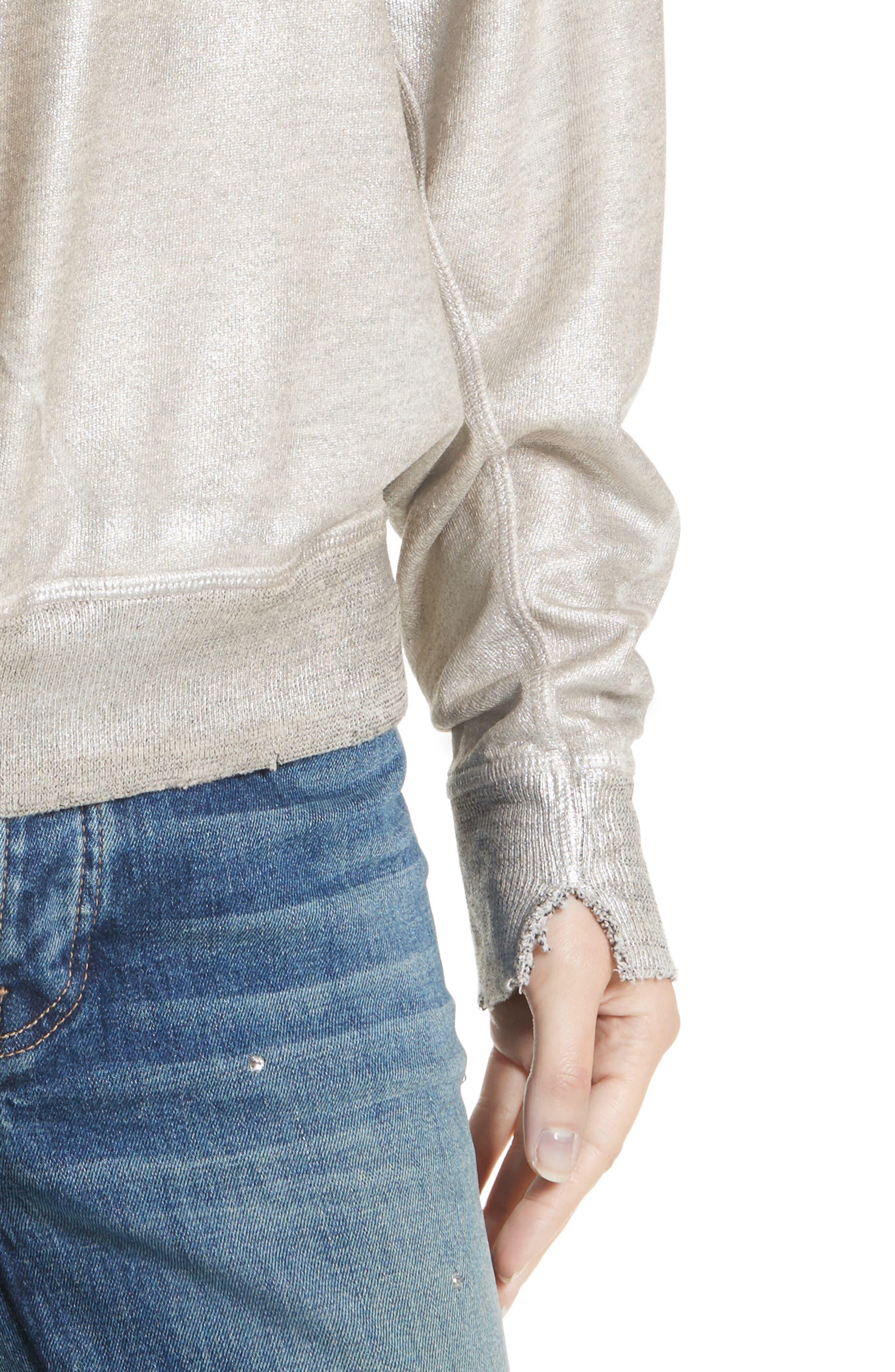 The College Metallic Foil Sweatshirt,                             Alternate thumbnail 5, color,                             Heather Grey