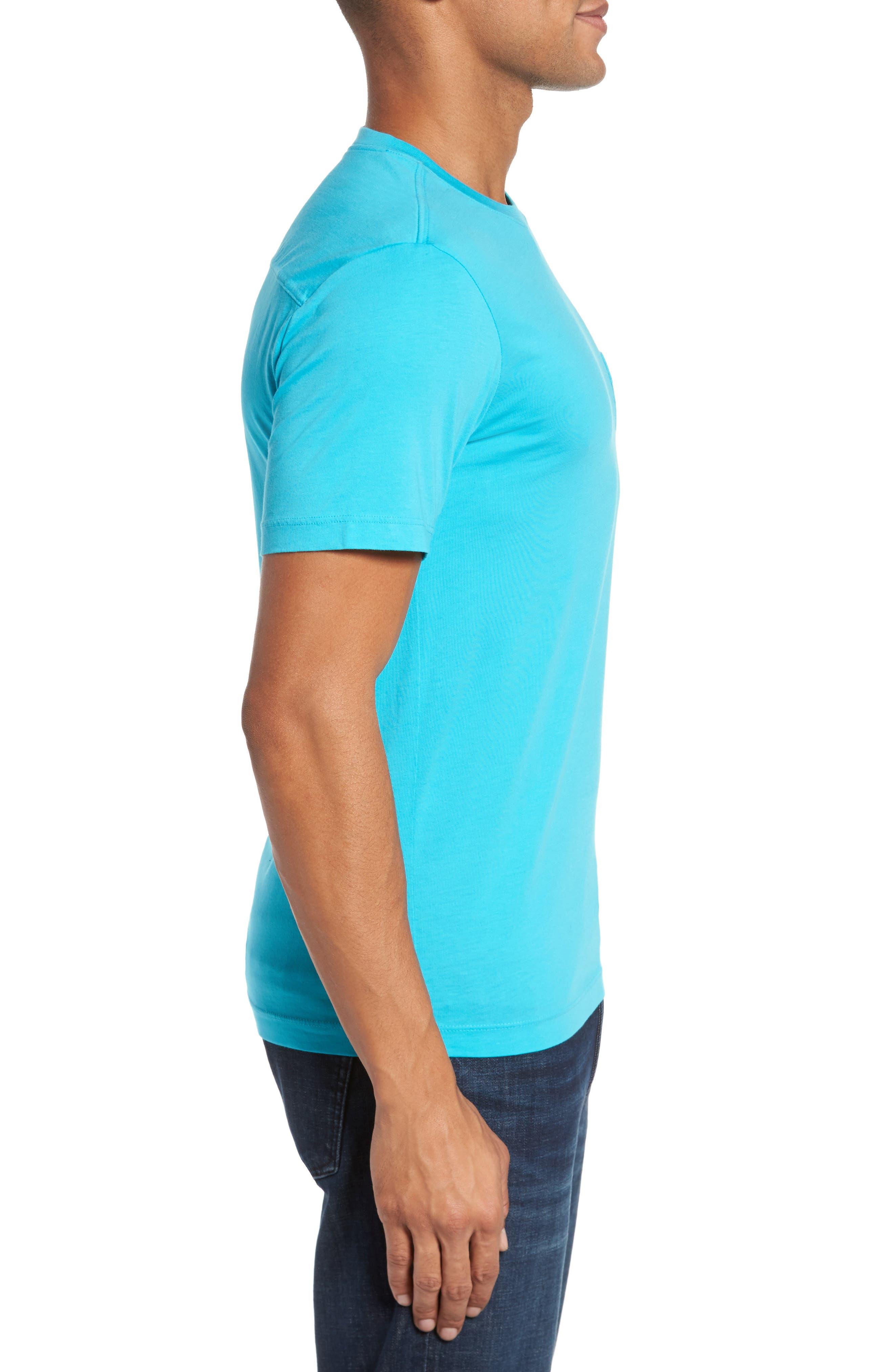 Classic Fit Pocket T-Shirt,                             Alternate thumbnail 3, color,                             Azure