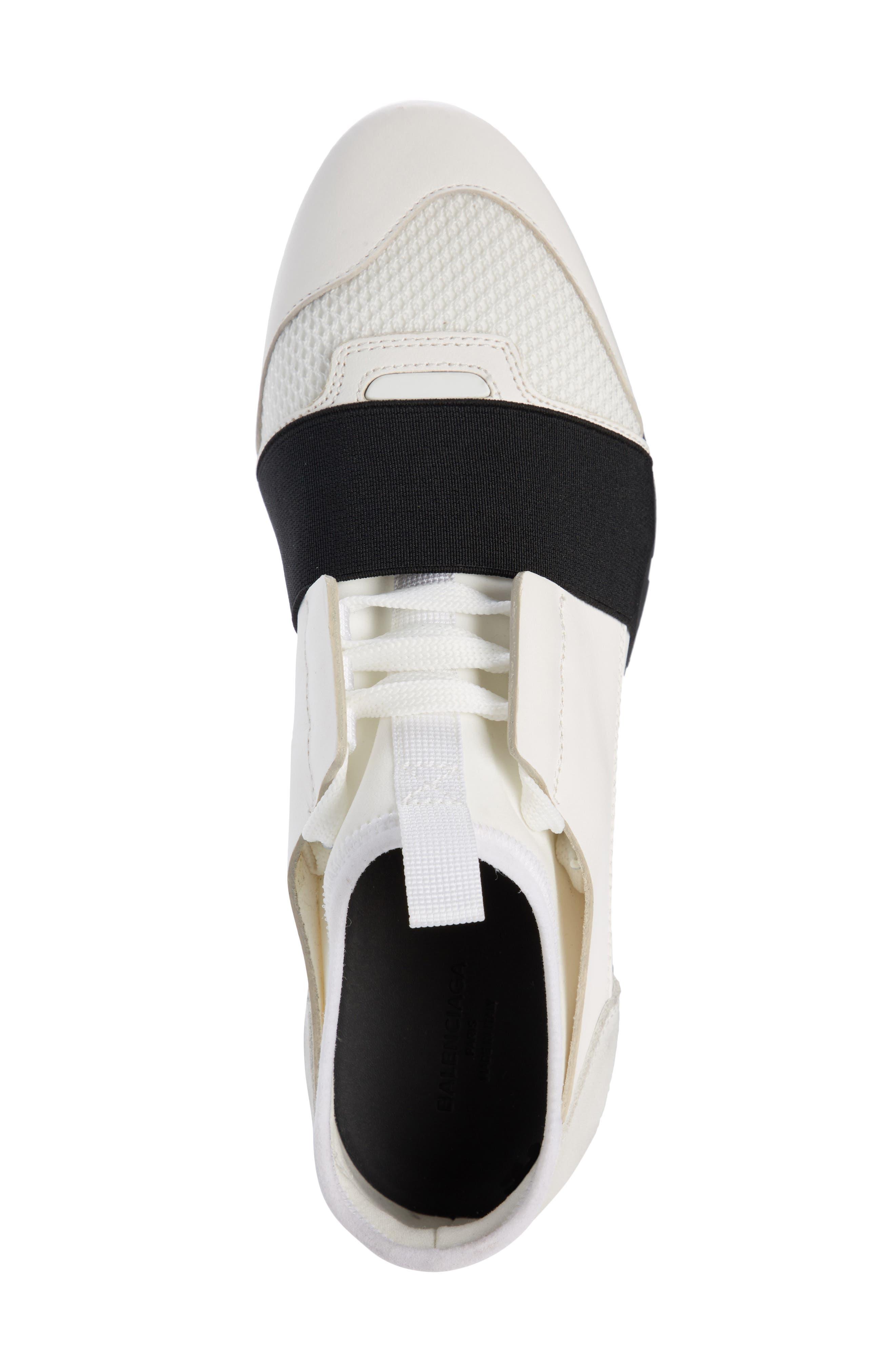 Mixed Media Trainer Sneaker,                             Alternate thumbnail 3, color,                             White/ Black