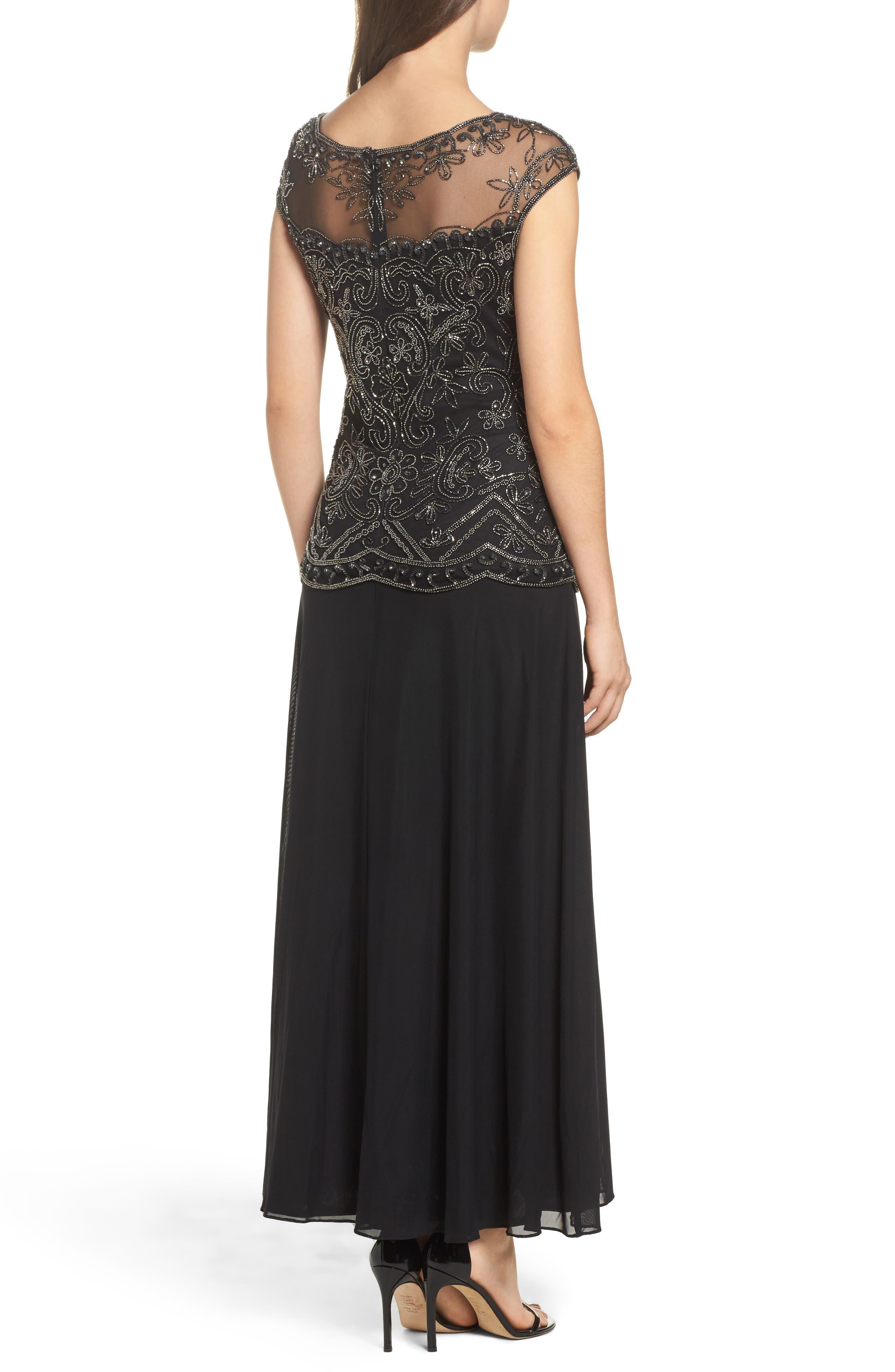 Embellished Cap Sleeve Long Dress,                             Alternate thumbnail 2, color,                             Black