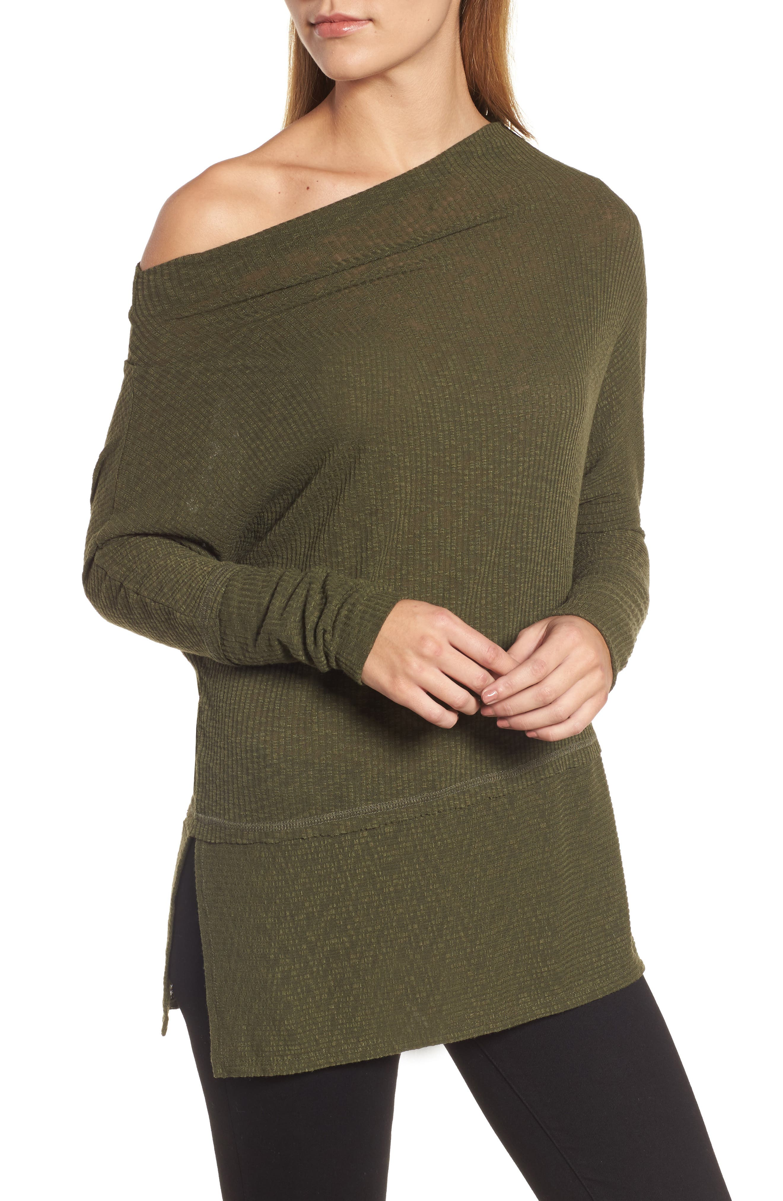 Convertible Wide Neck Top,                             Alternate thumbnail 4, color,                             Olive
