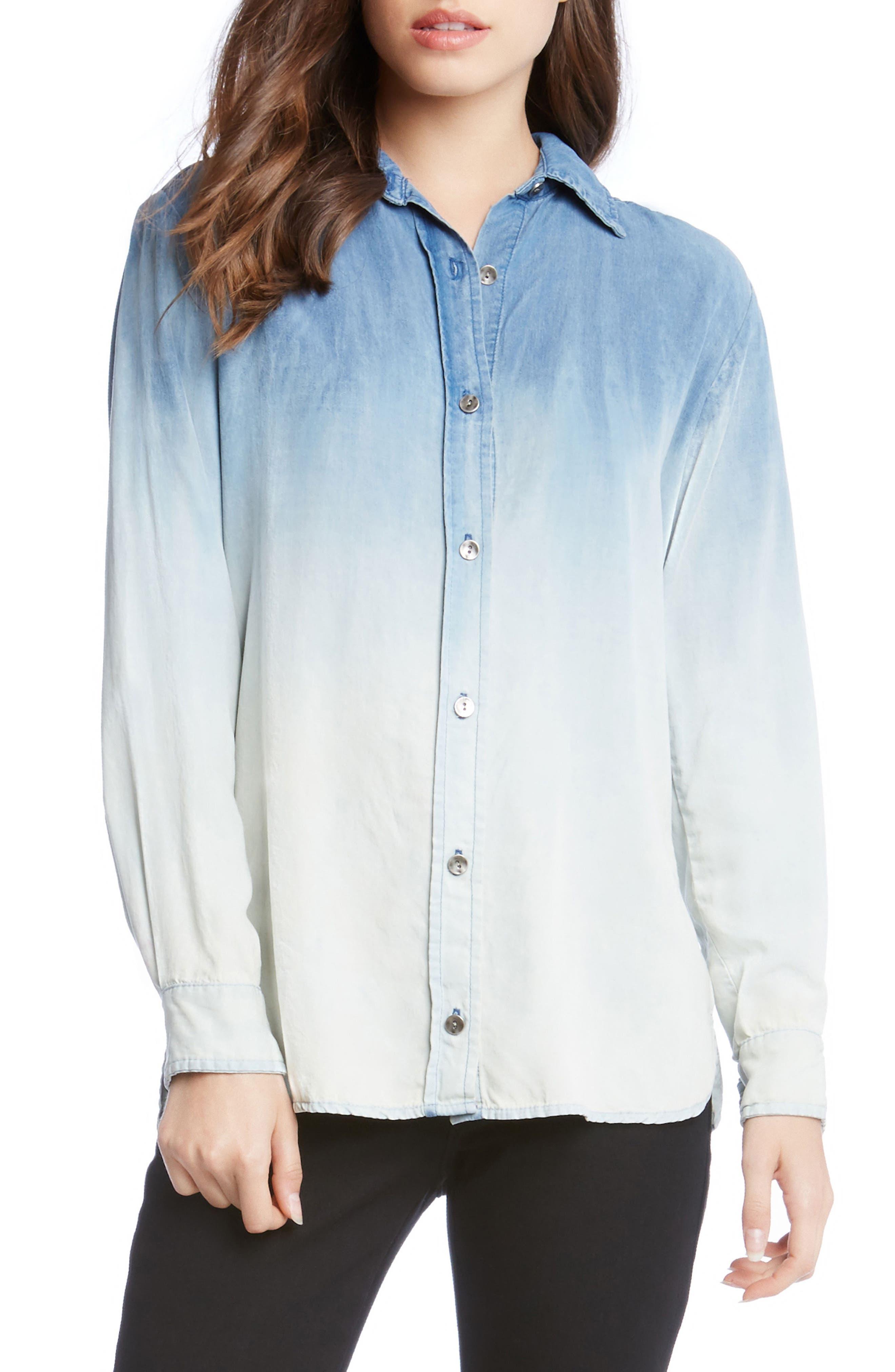 Karen Kane Ombré Chambray Shirt
