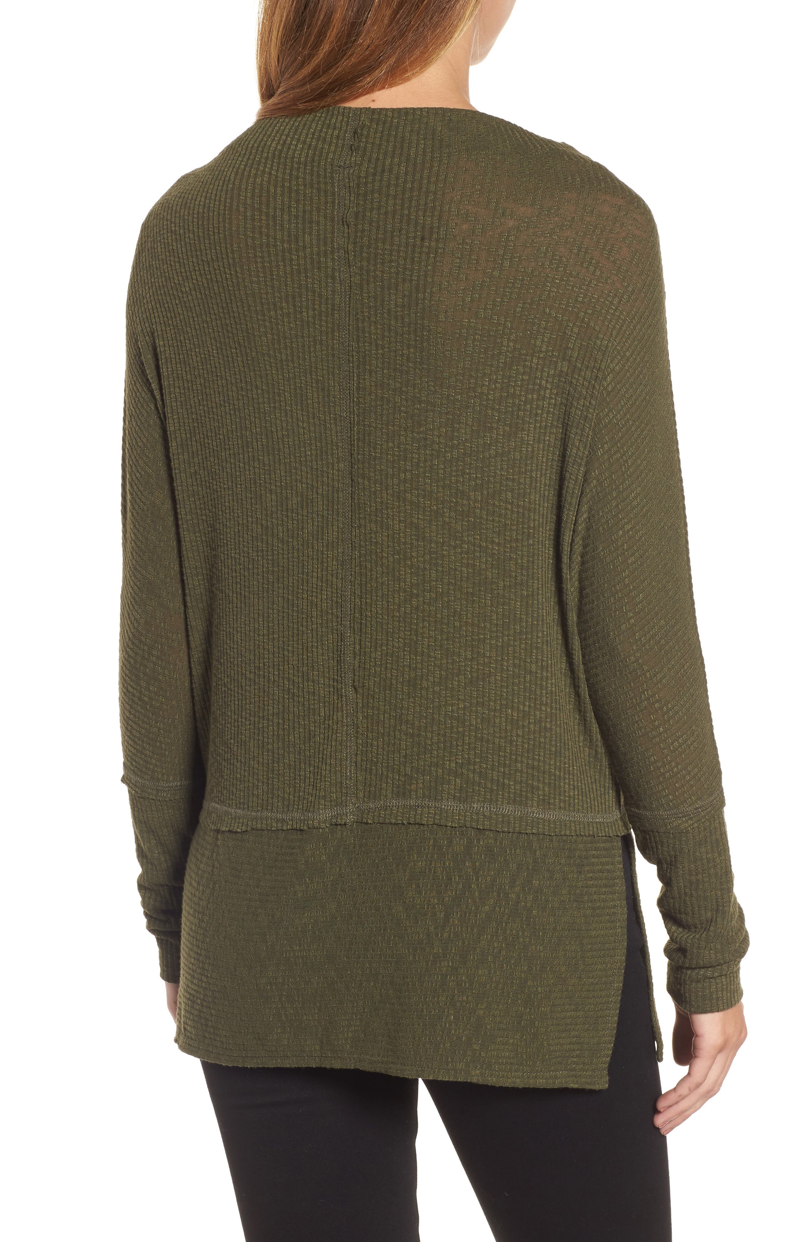 Convertible Wide Neck Top,                             Alternate thumbnail 2, color,                             Olive
