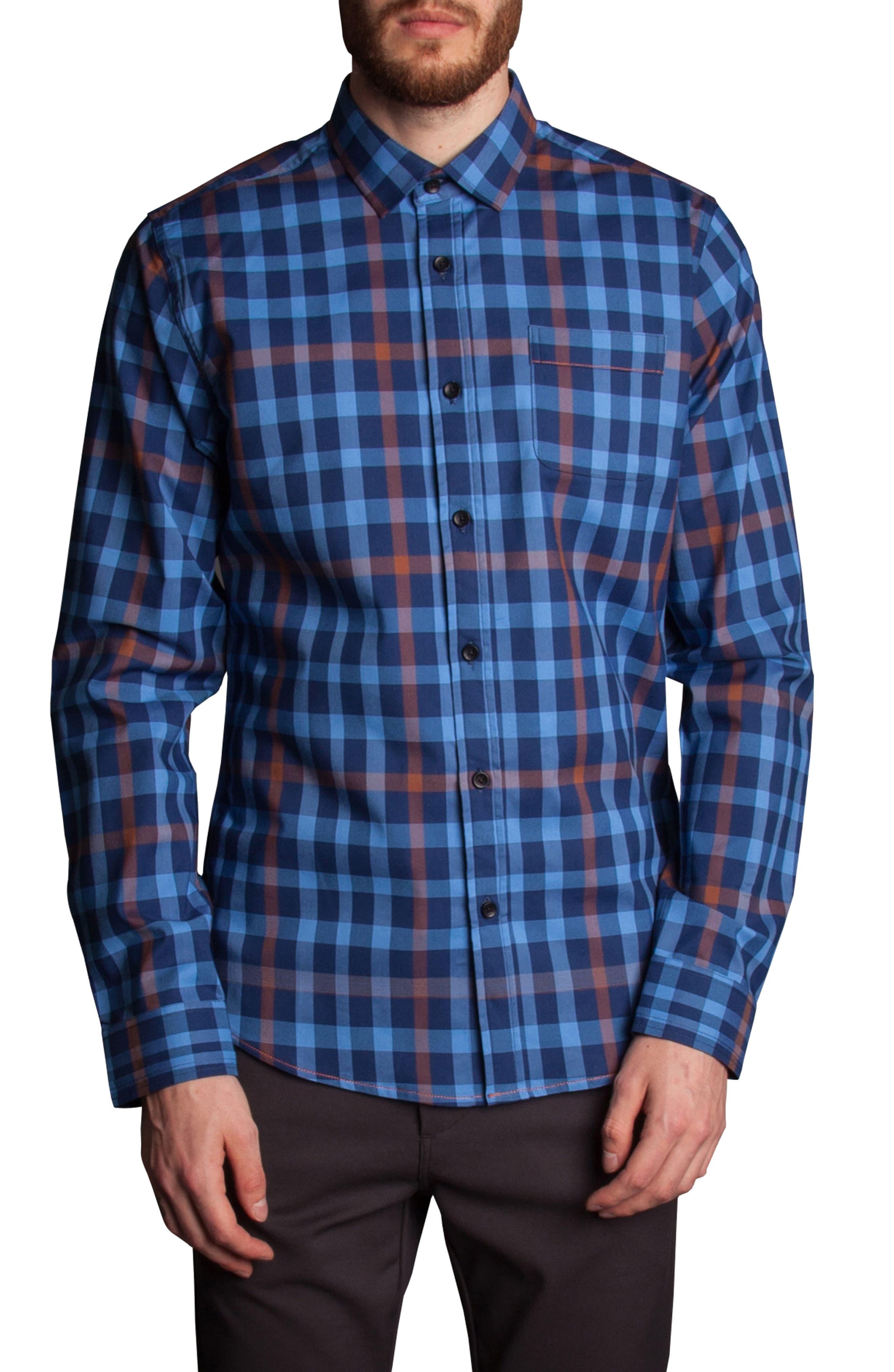 Plaid Sport Shirt,                         Main,                         color, Blue