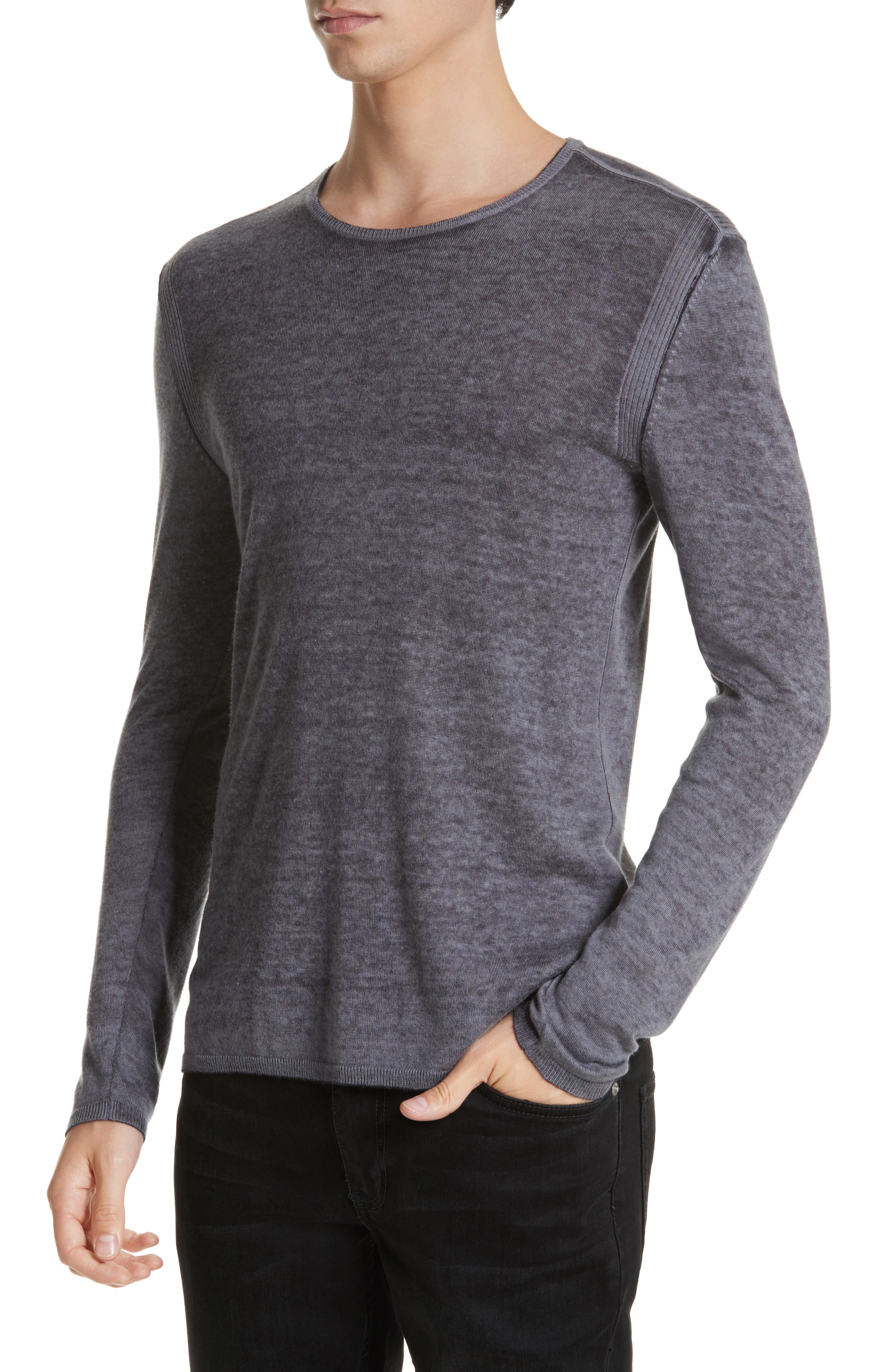Silk & Cashmere Crewneck Sweater,                             Alternate thumbnail 4, color,                             Dry Lavender
