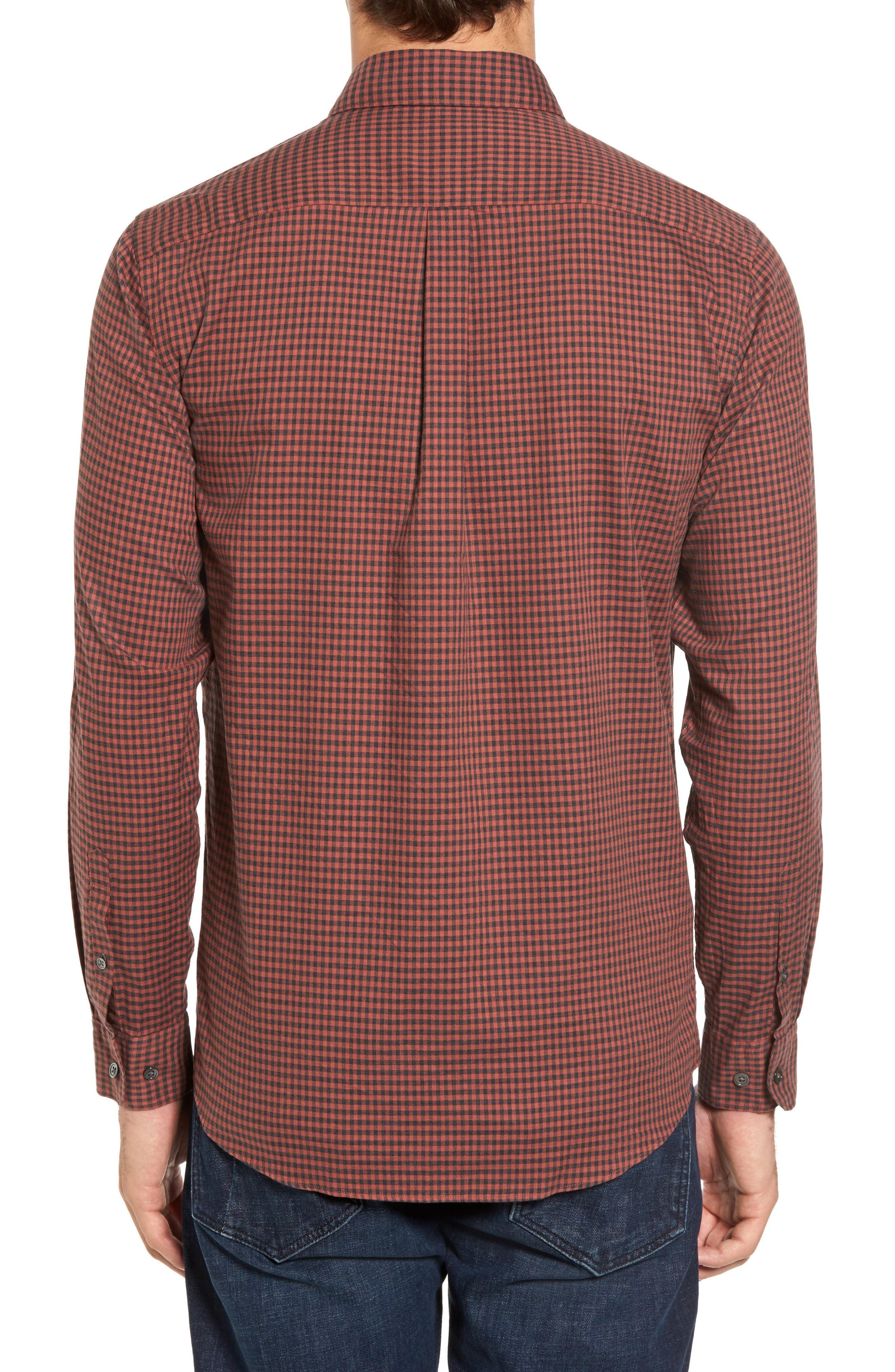 Halls Corner Check Sport Shirt,                             Alternate thumbnail 2, color,                             Red Ochre