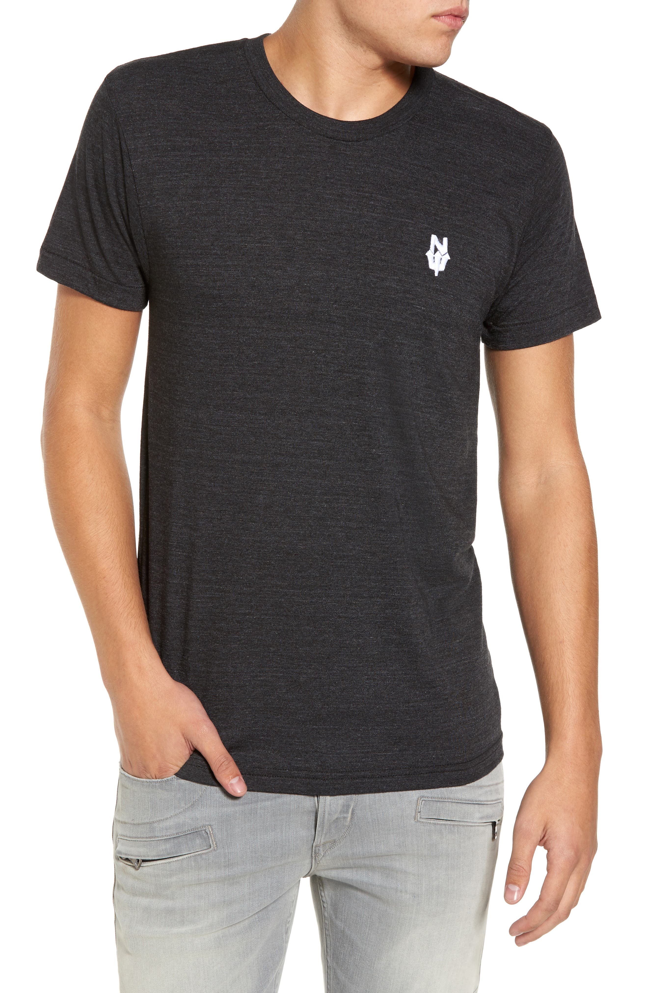 NW Trident Embroidered T-Shirt,                         Main,                         color, Black