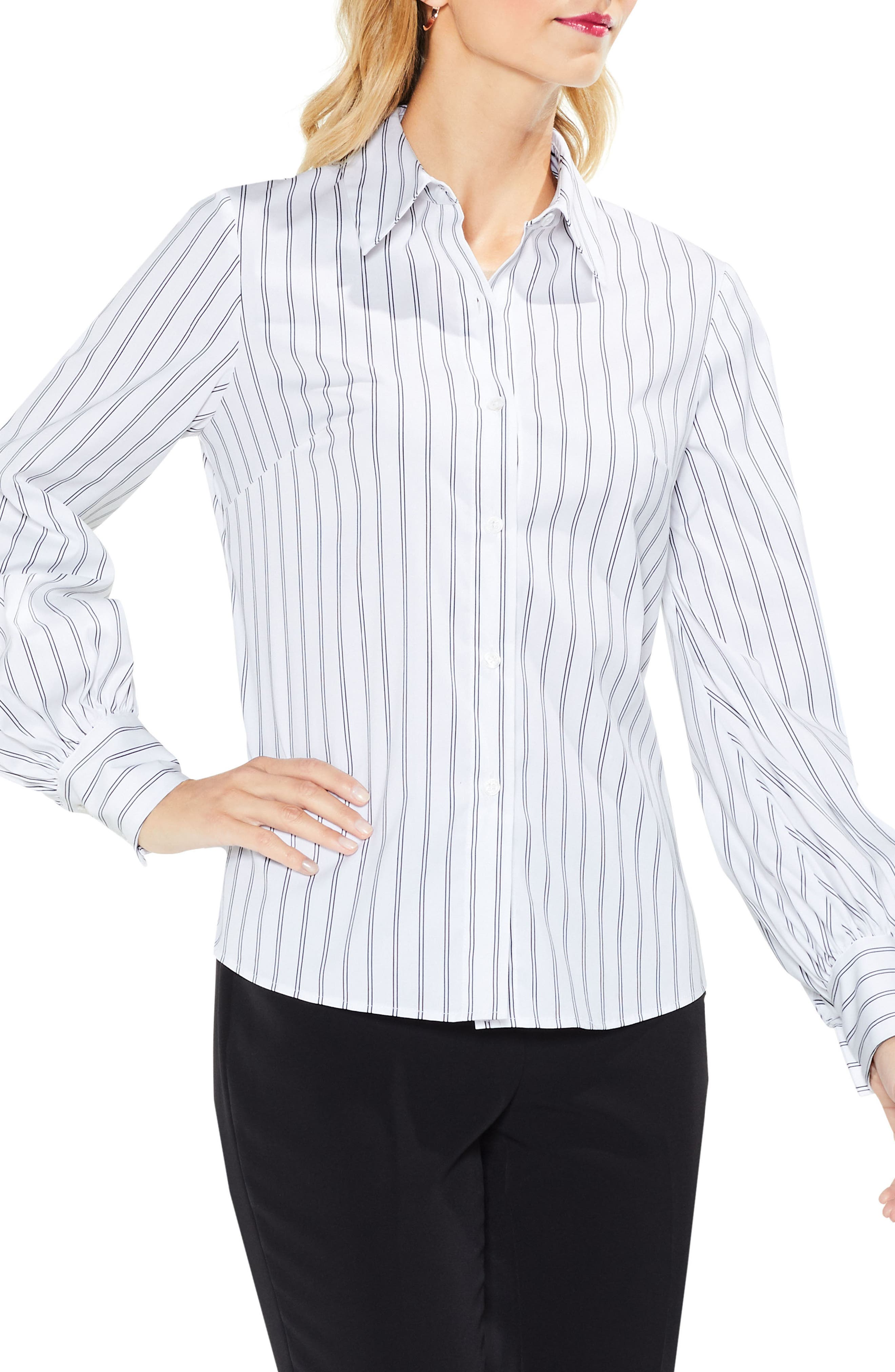 Stripe Lace-Up Shirt,                         Main,                         color, Ultra White