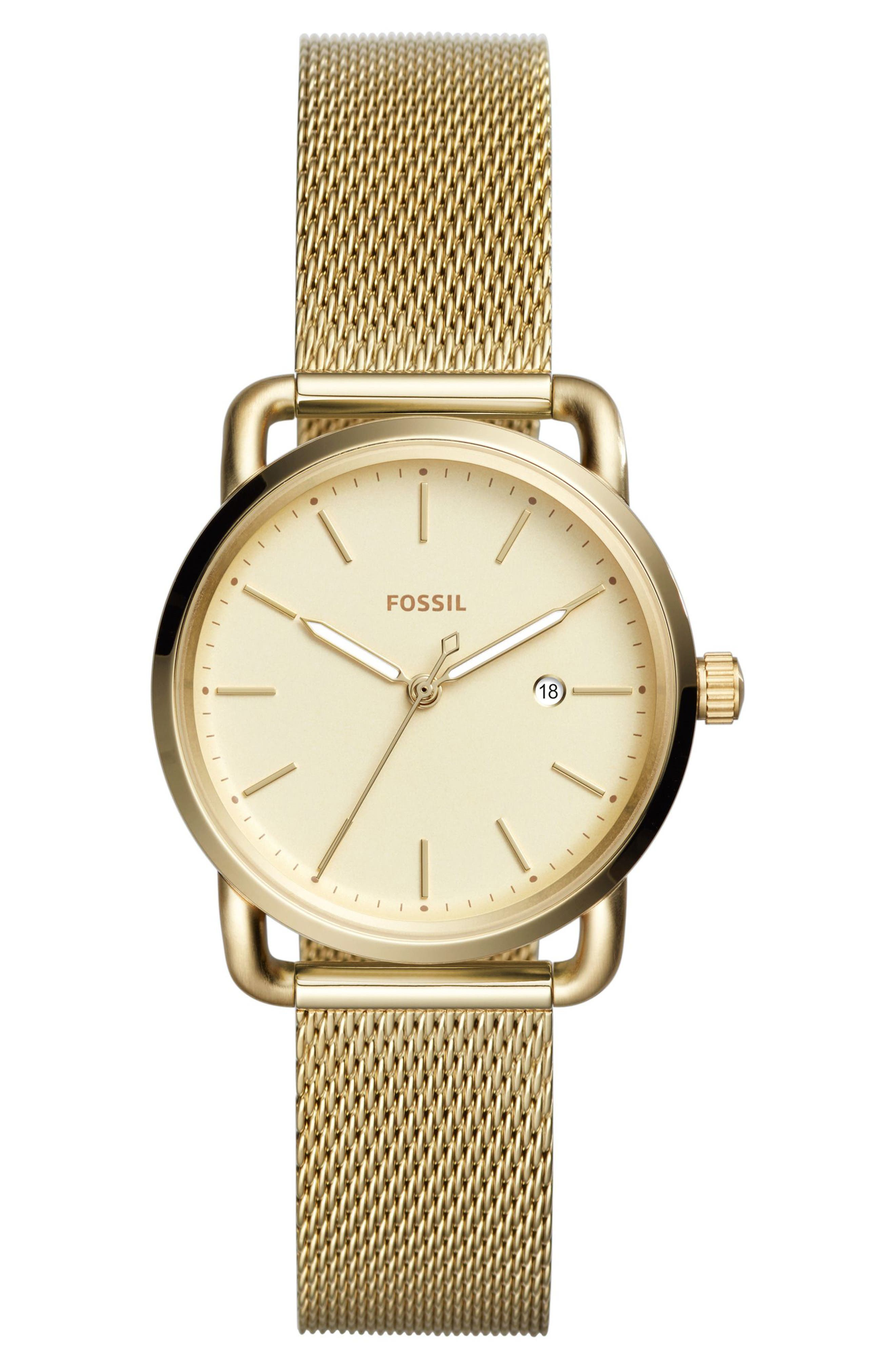 The Commuter Mesh Strap Watch, 34mm,                             Main thumbnail 1, color,                             Gold
