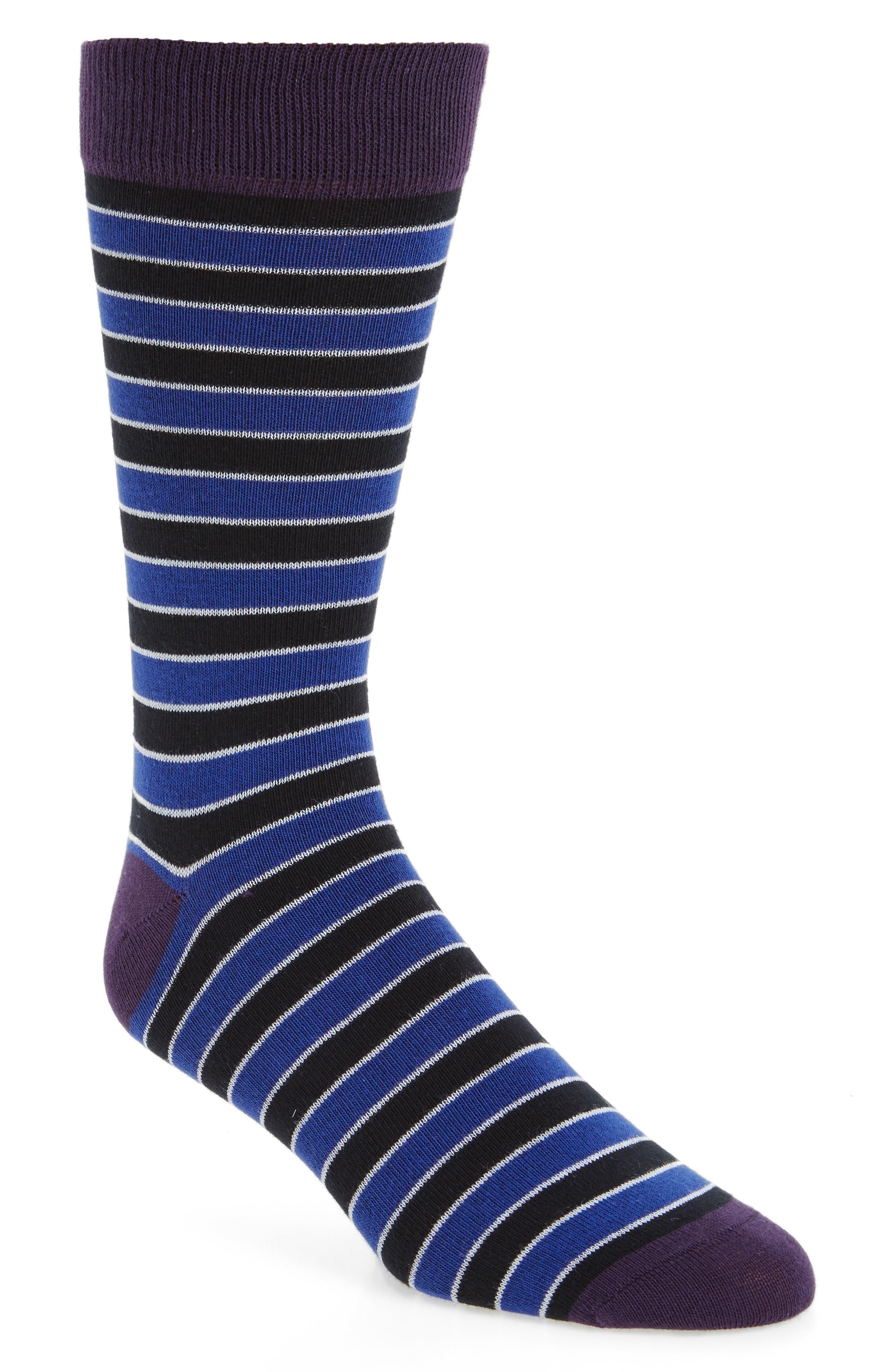 Rousse Stripe Socks,                         Main,                         color, Black