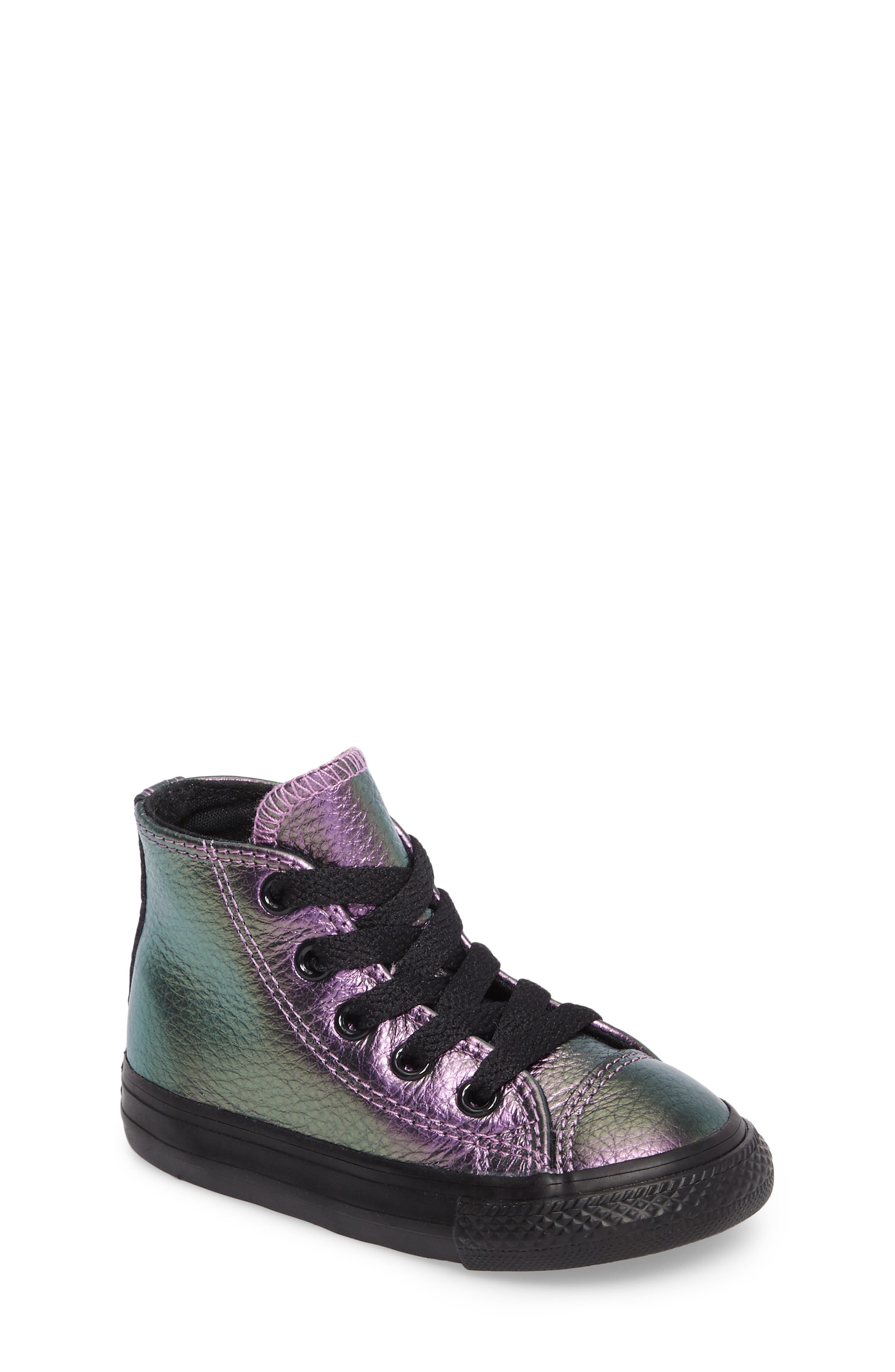 Alternate Image 1 Selected - Converse Chuck Taylor® All Star® Iridescent Leather High Top Sneaker (Baby, Walker, Toddler & Little Kid)