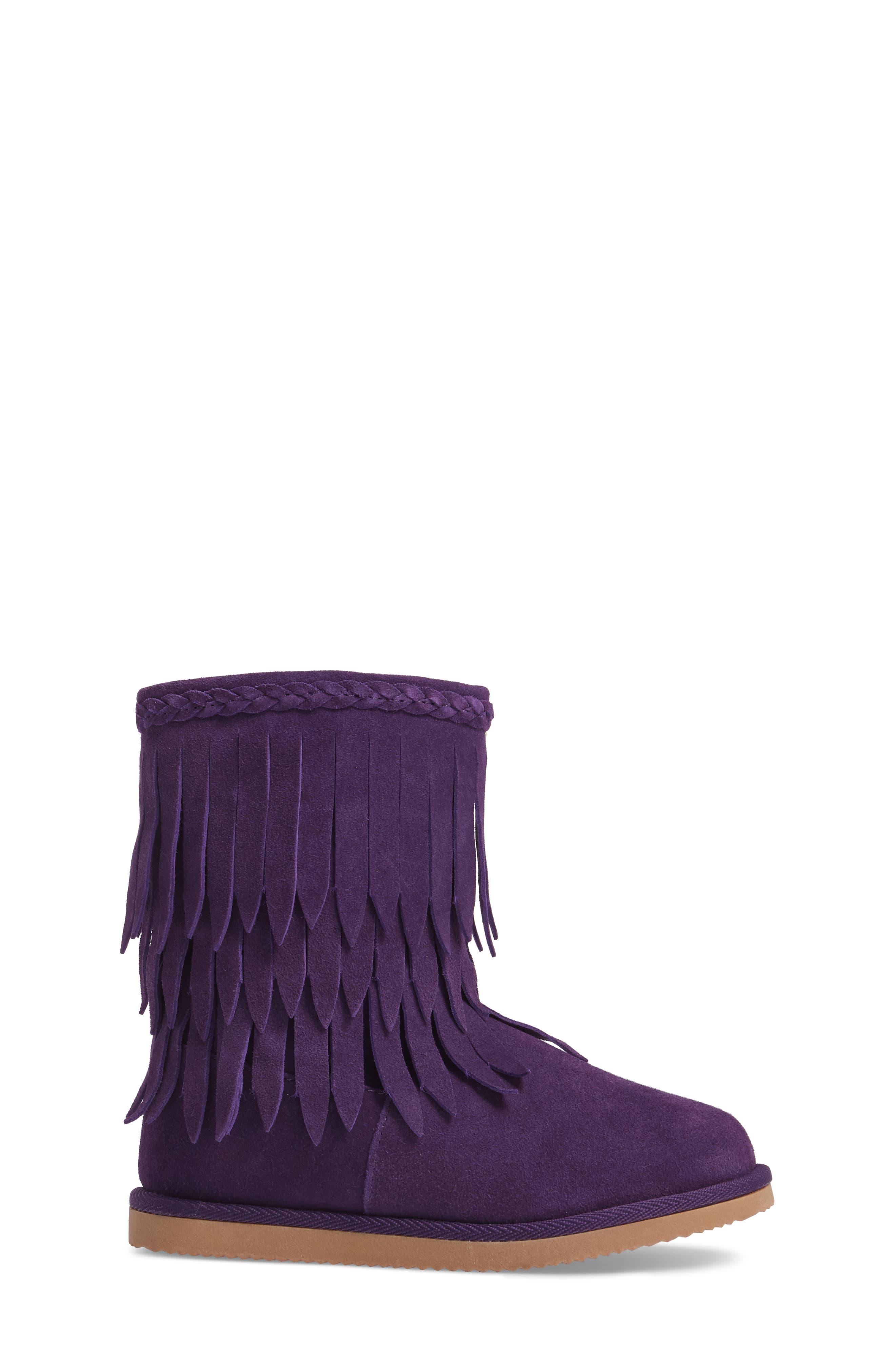 Elissa Faux Fur Fringed Bootie,                             Alternate thumbnail 3, color,                             Purple Suede