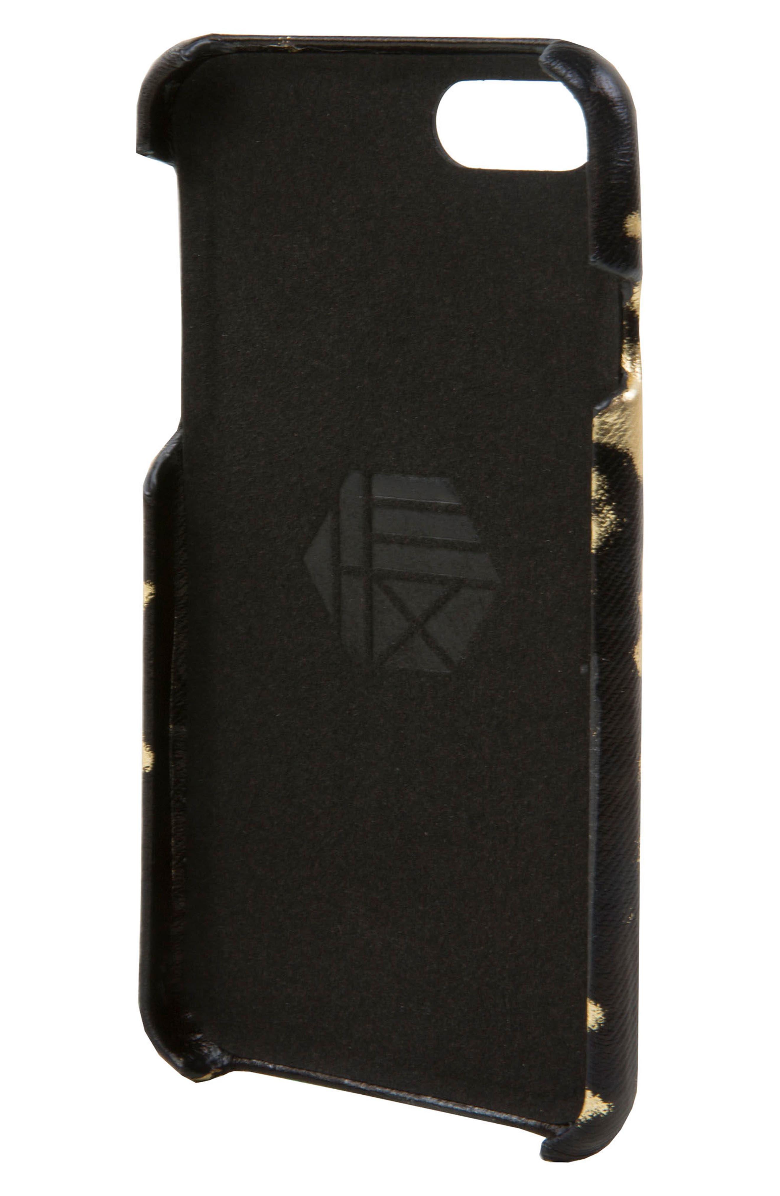 Focus Leather iPhone 6/6s/7/8 Case,                             Alternate thumbnail 2, color,                             Black/ Gold