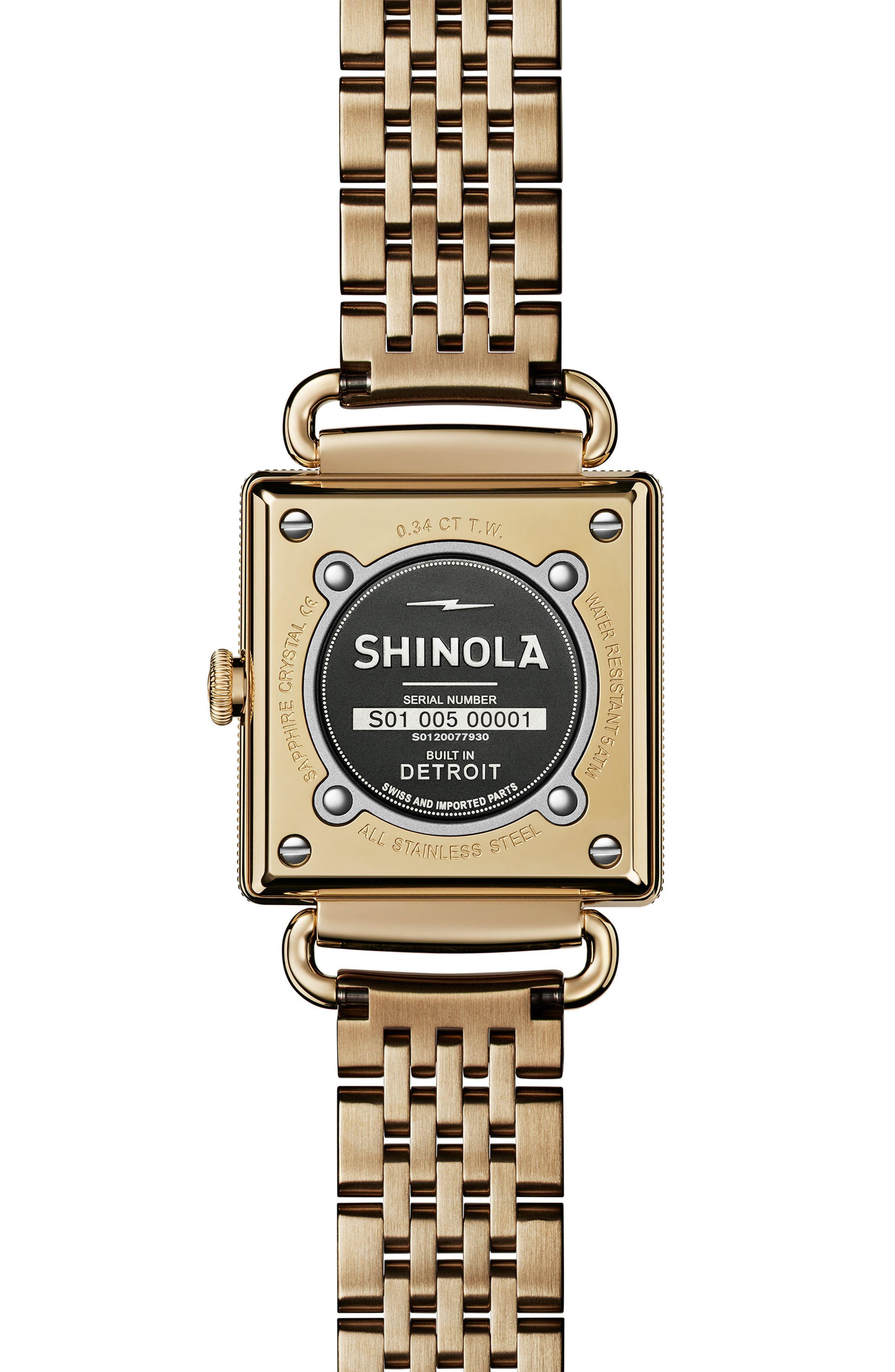 Cass Diamond Bracelet Watch, 28mm x 27mm,                             Alternate thumbnail 2, color,                             Gold/ Silver/ Gold