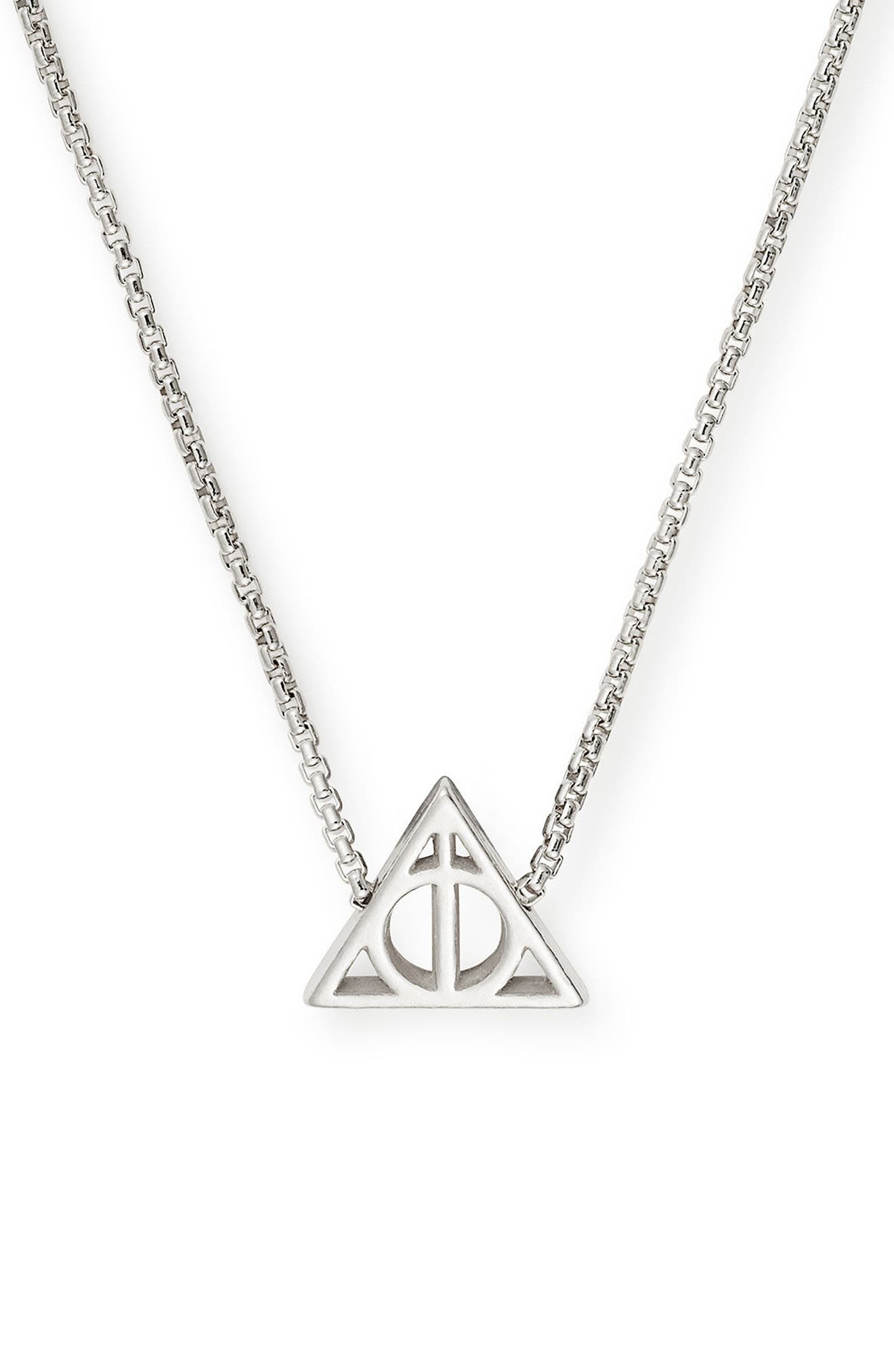 Harry Potter<sup>™</sup> Deathly Hallows<sup>™</sup> Necklace,                             Alternate thumbnail 2, color,                             Silver