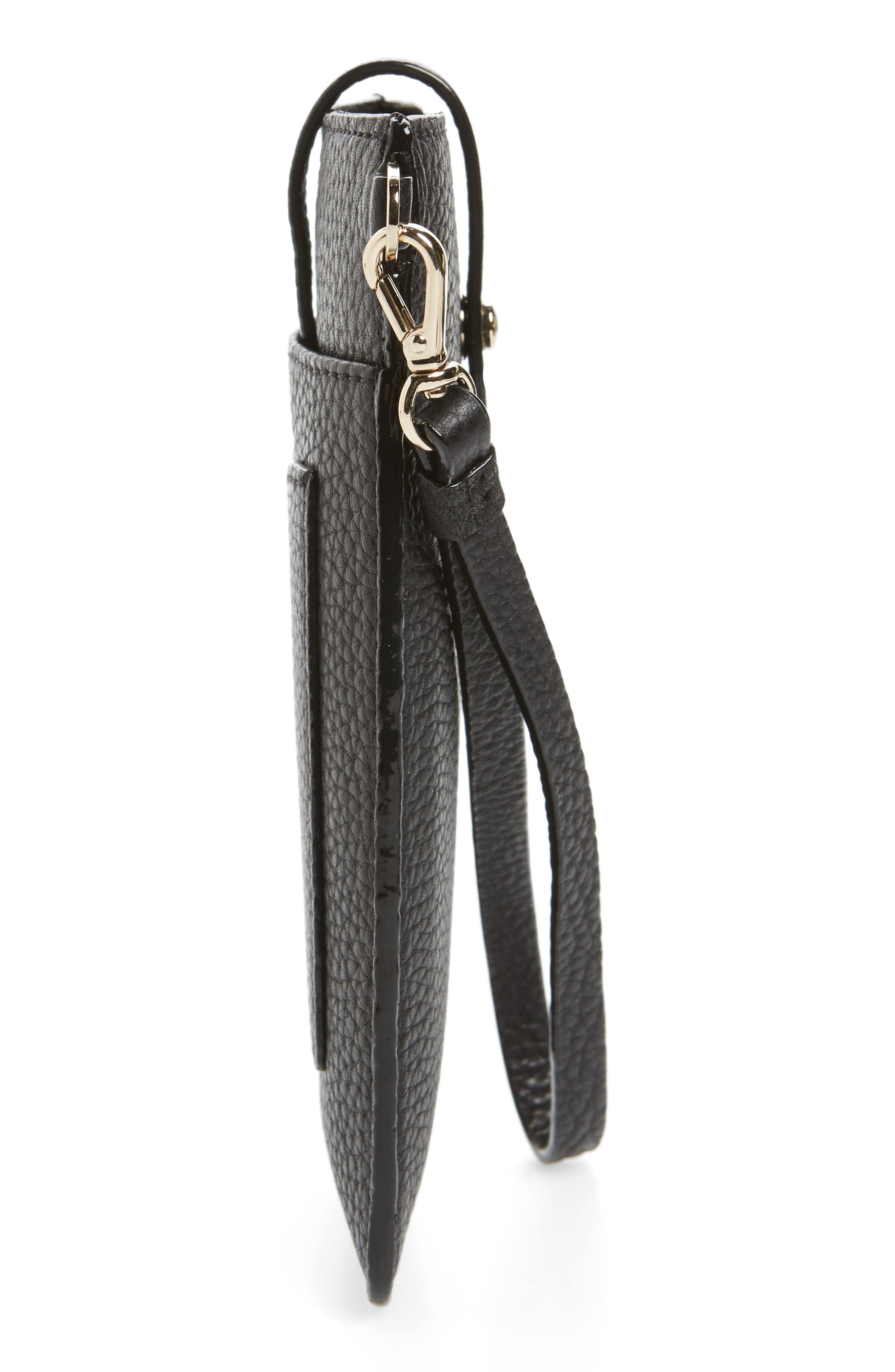 leather smartphone wristlet,                             Alternate thumbnail 4, color,                             Black