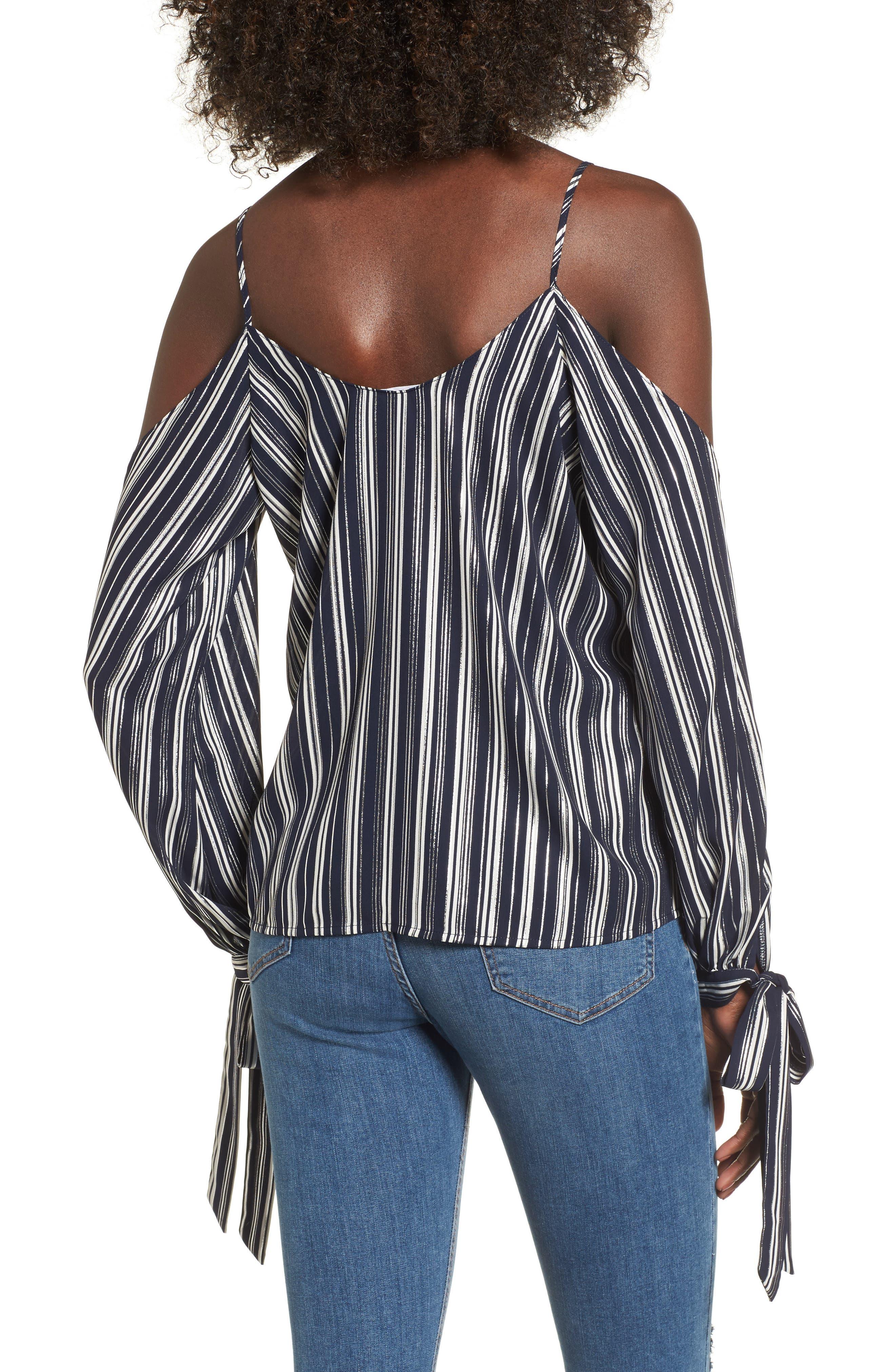 Metallic Stripe Cold Shoulder Top,                             Alternate thumbnail 2, color,                             Navy/ Silver Stripe