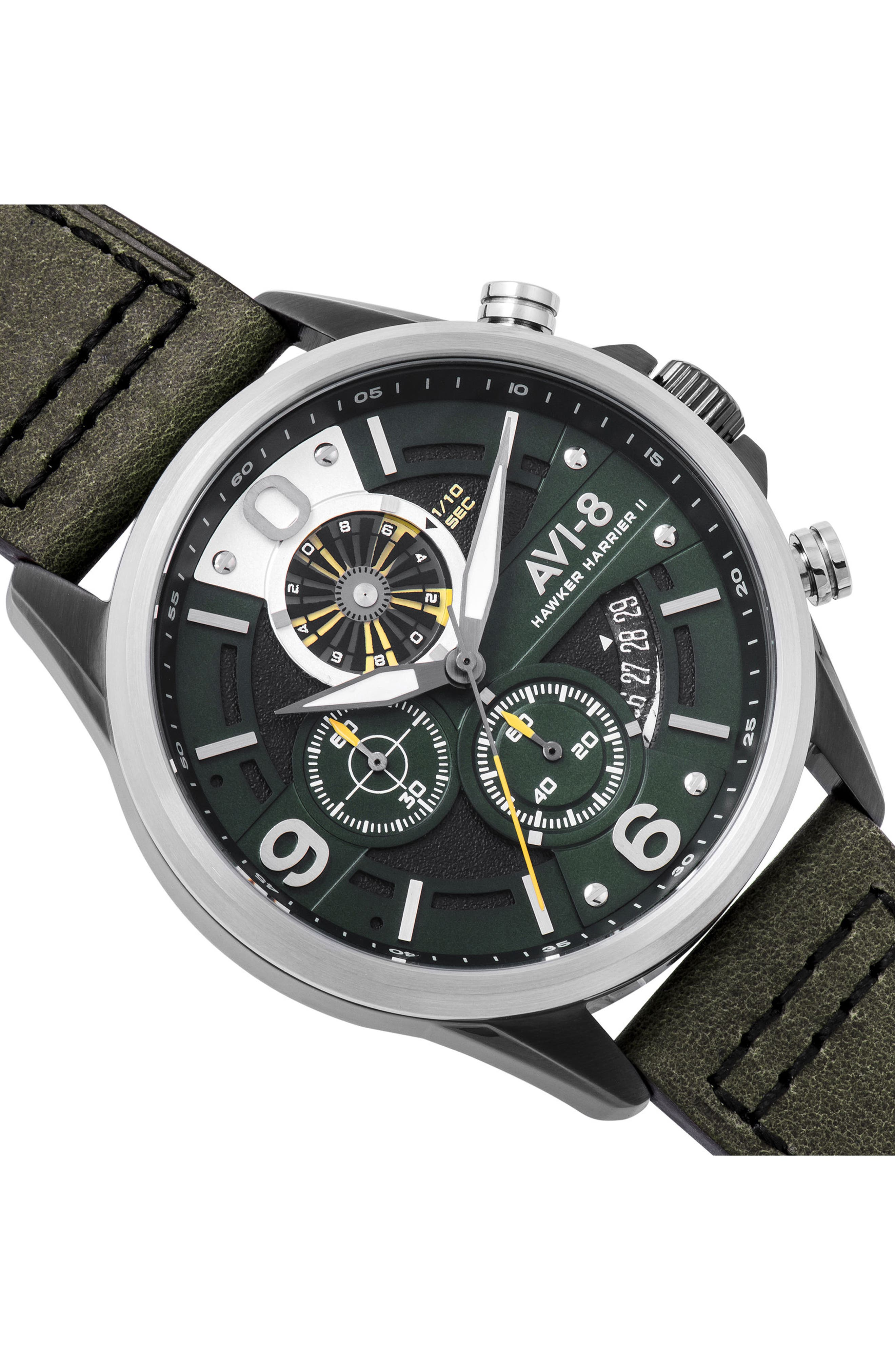 Hawker Harrier II Turbine Chronograph Leather Strap Watch, 45mm,                             Alternate thumbnail 4, color,                             Green/ Green