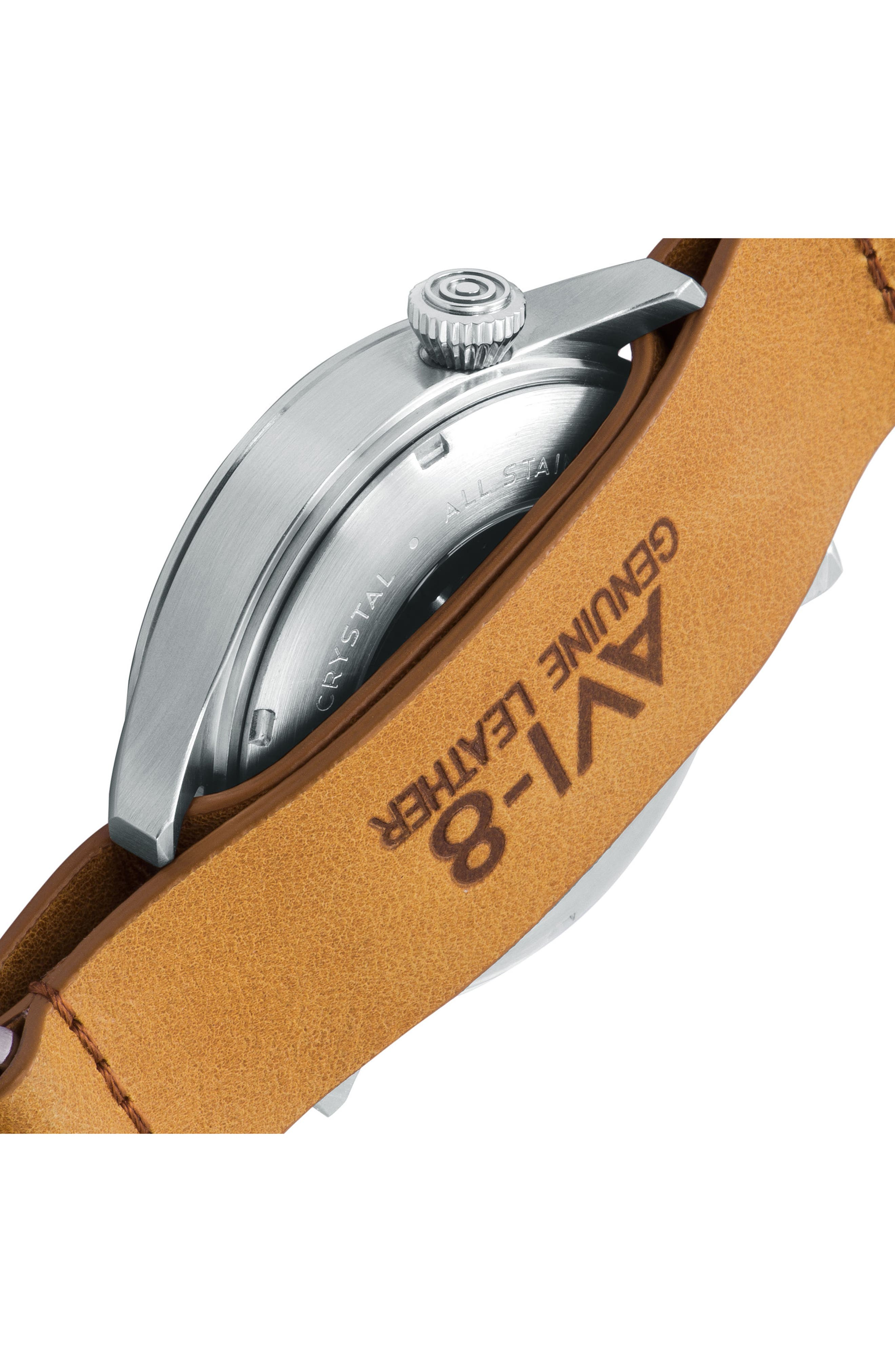 Flyboy Tuck Automatic Leather Strap Watch, 42mm,                             Alternate thumbnail 3, color,                             Black/ Tan