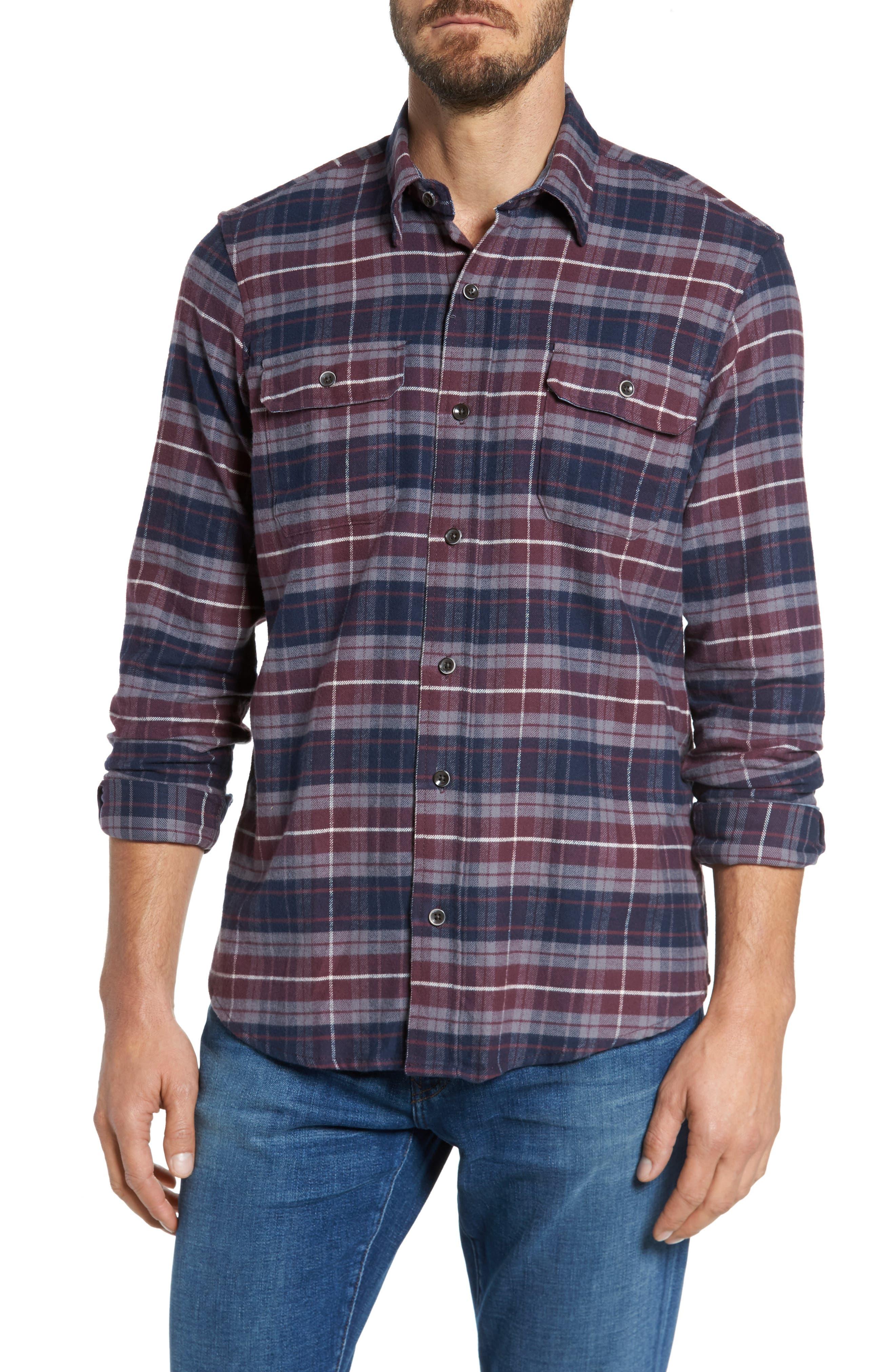 Plaid Flannel Sport Shirt,                         Main,                         color, Raspberry Fudge Trail Plaid
