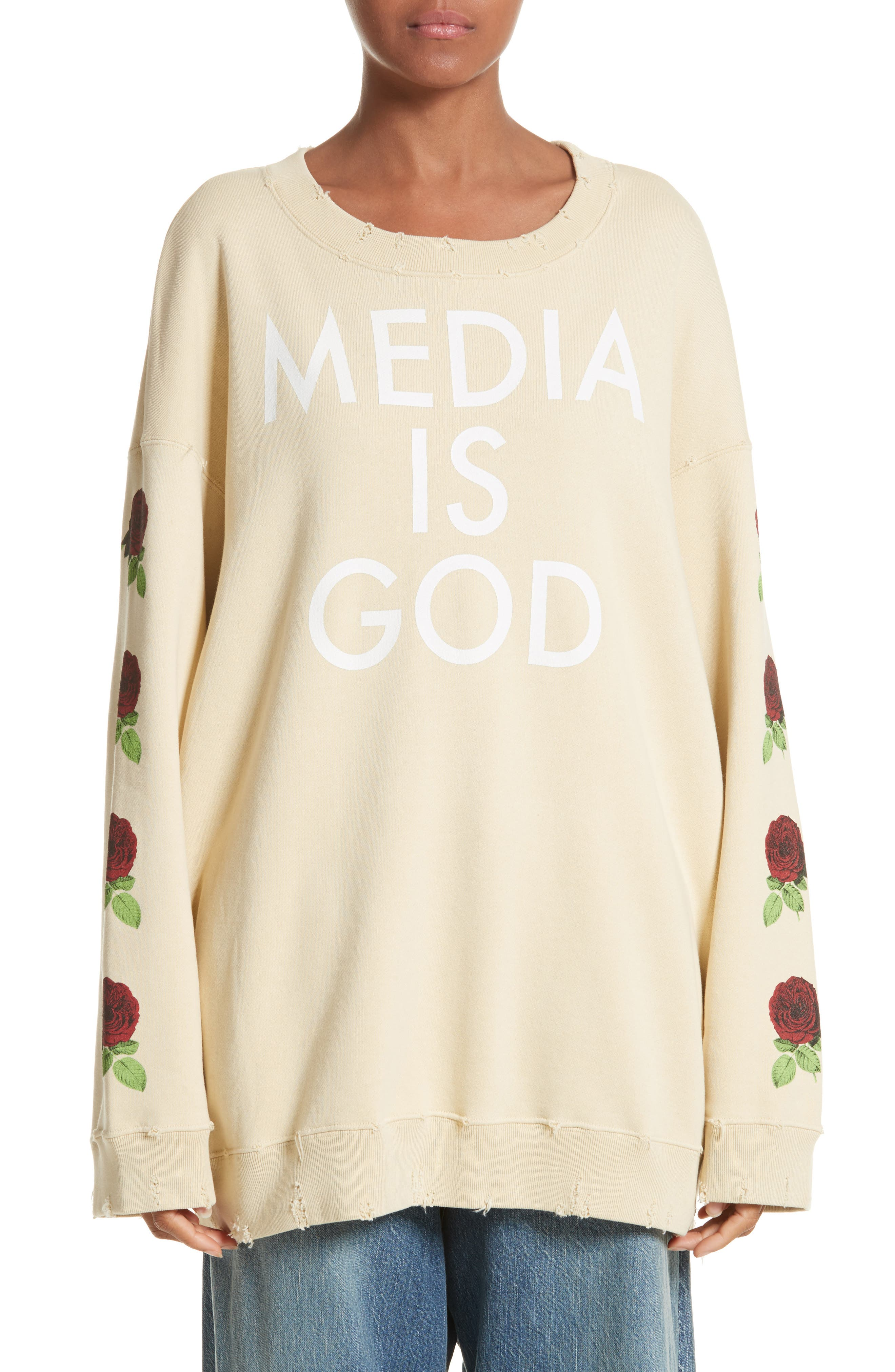 Media Is God Sweatshirt,                             Main thumbnail 1, color,                             Cream