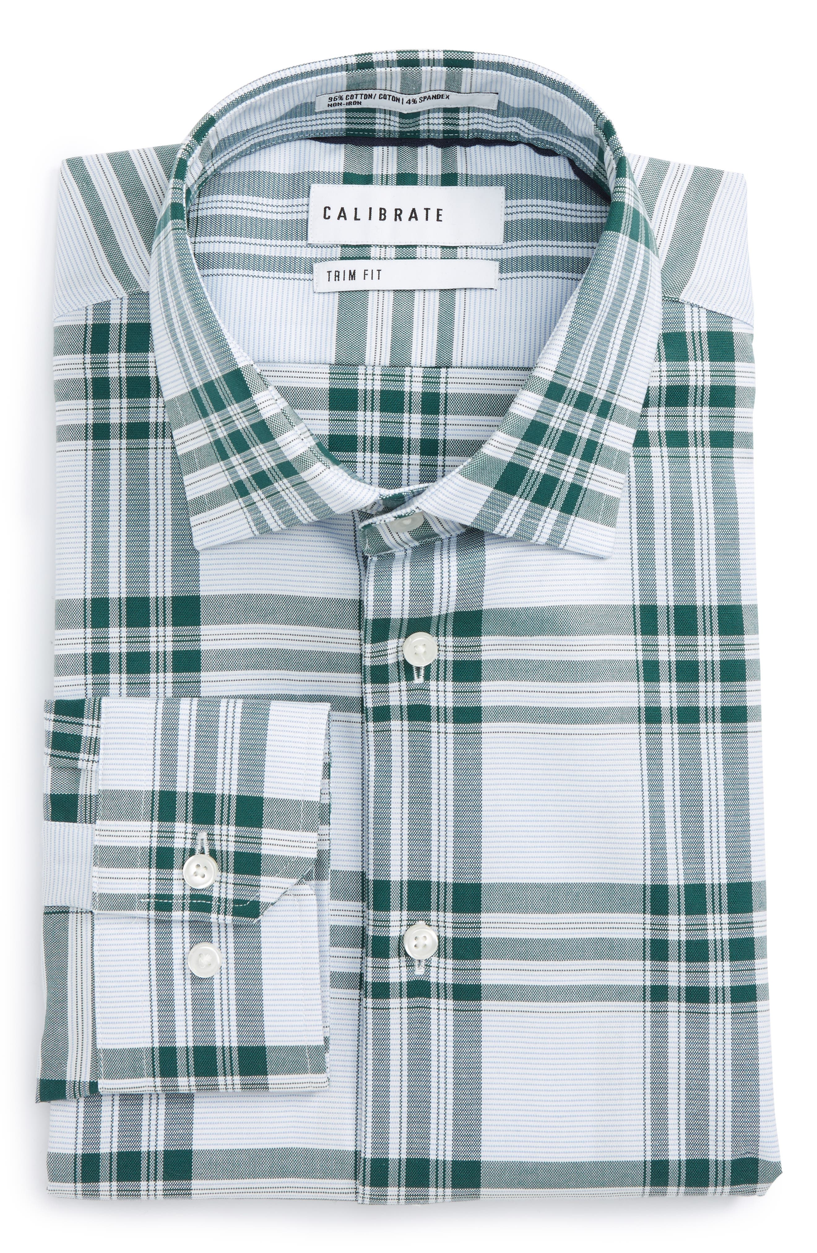 Main Image - Calibrate Trim Fit Plaid Non-Iron Stretch Dress Shirt