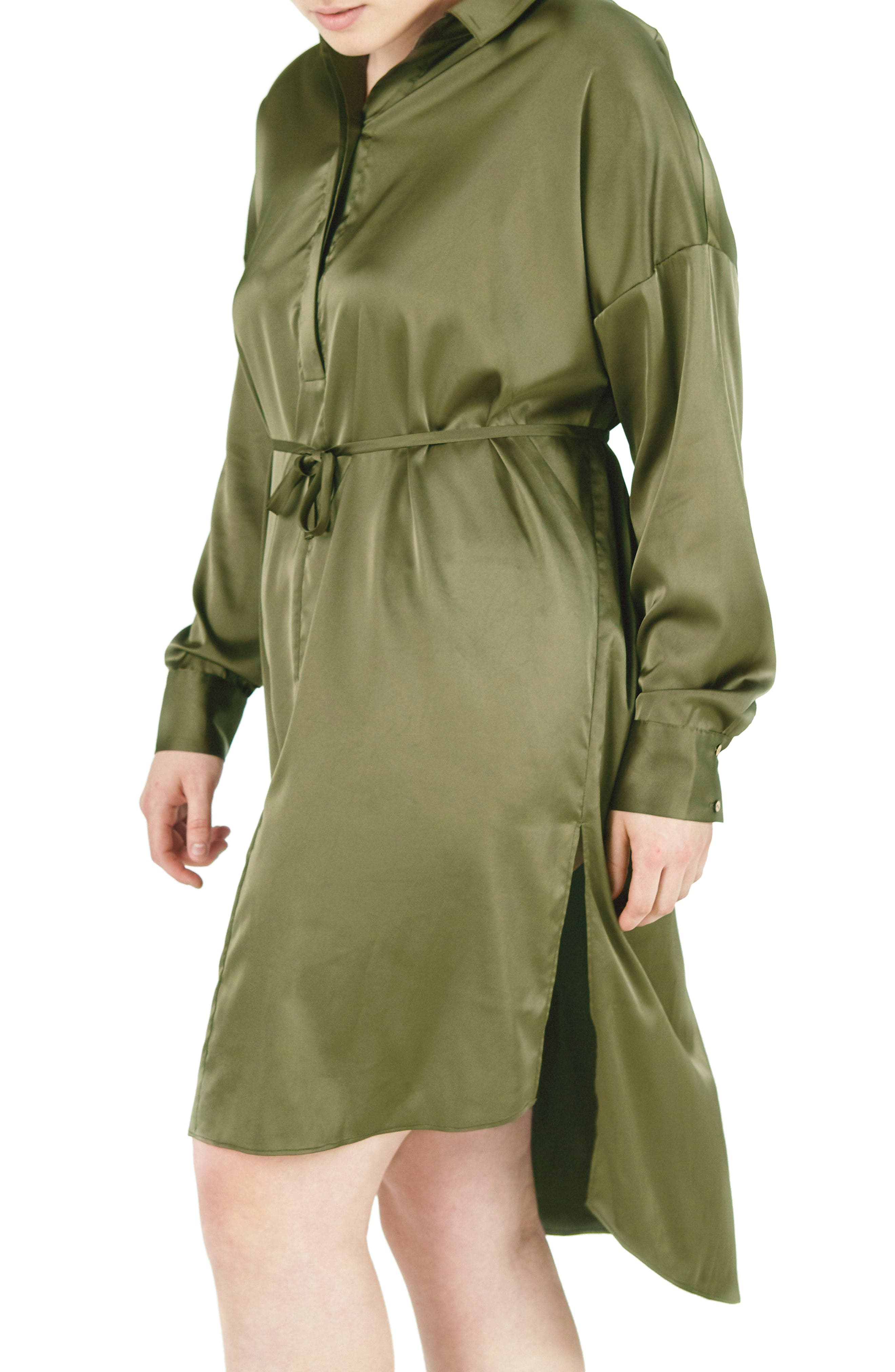 ELVI Embroidered Bird Satin Shirtdress (Plus Size)