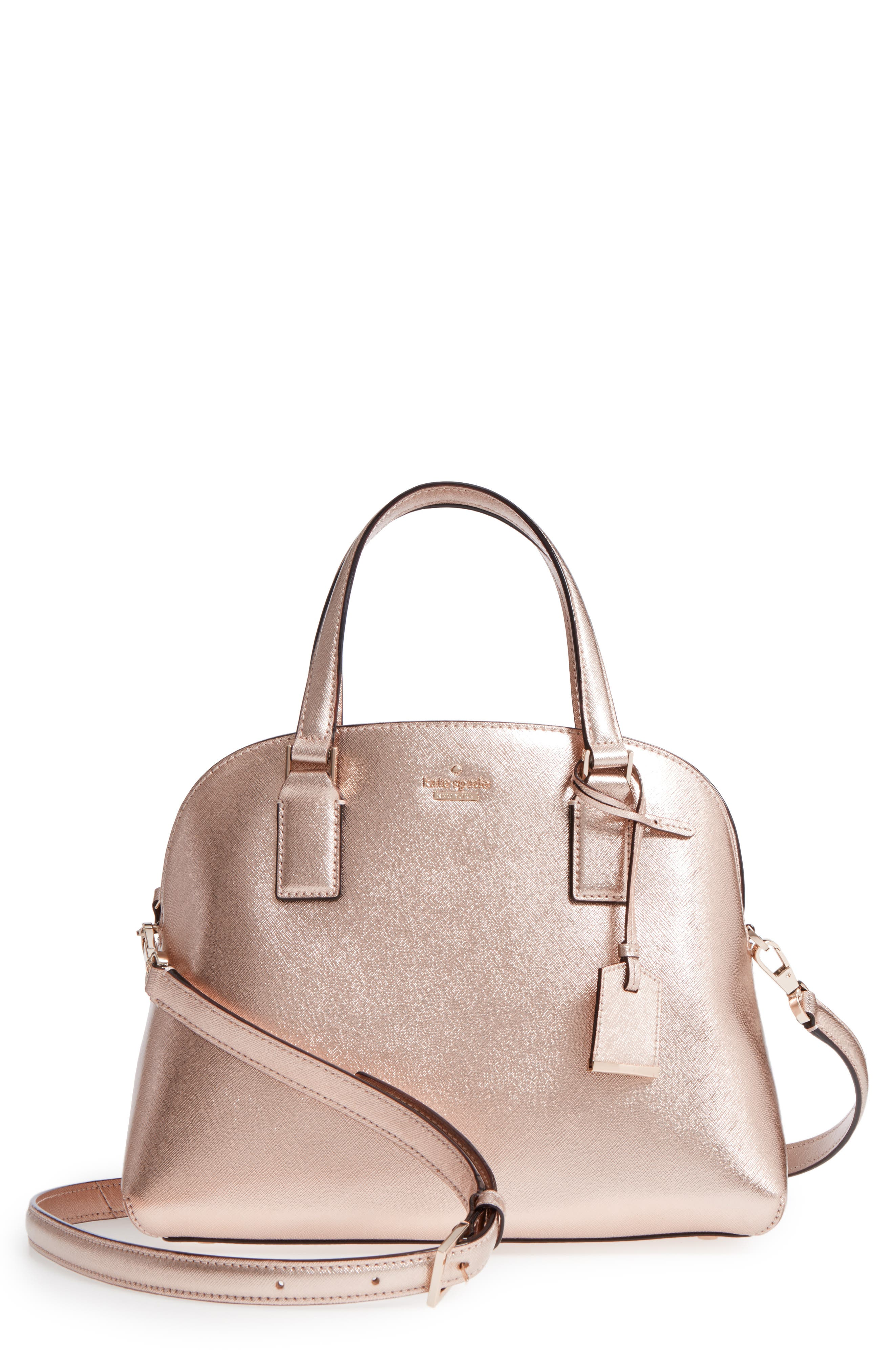 cameron street - lottie leather satchel,                             Main thumbnail 1, color,                             Rose Gold