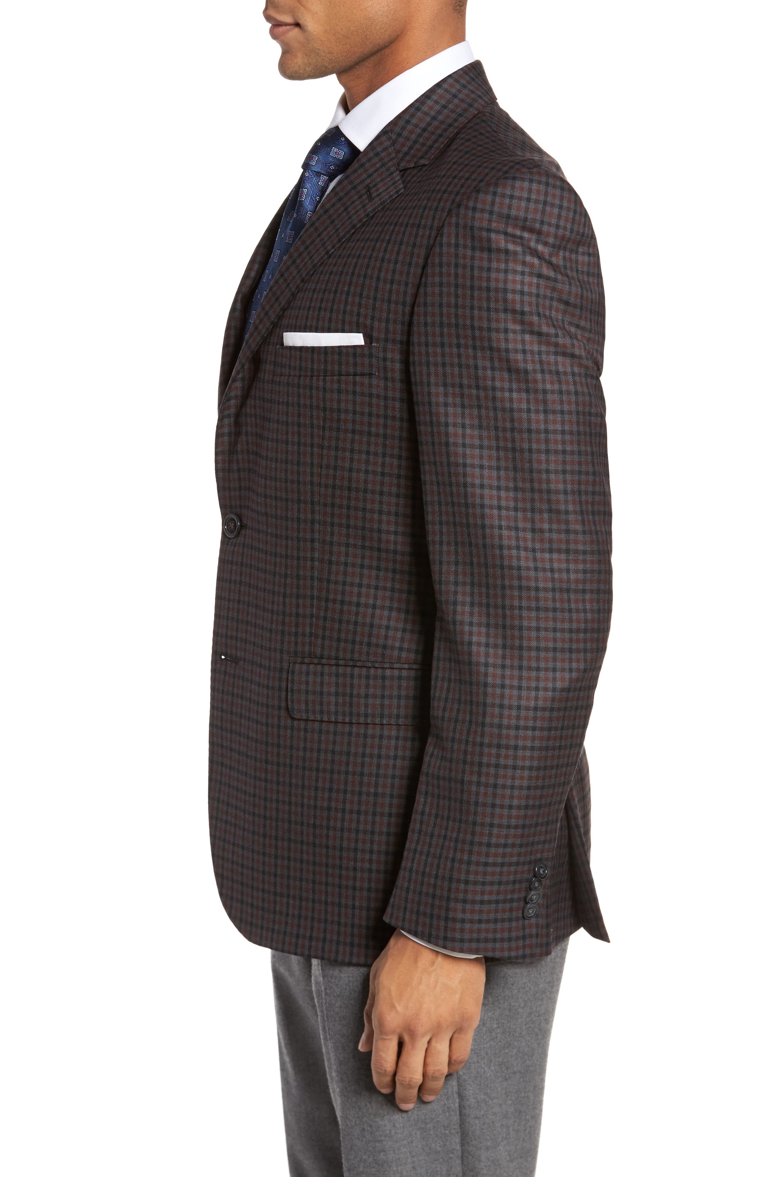 Classic Fit Check Wool Sport Coat,                             Alternate thumbnail 3, color,                             Grey