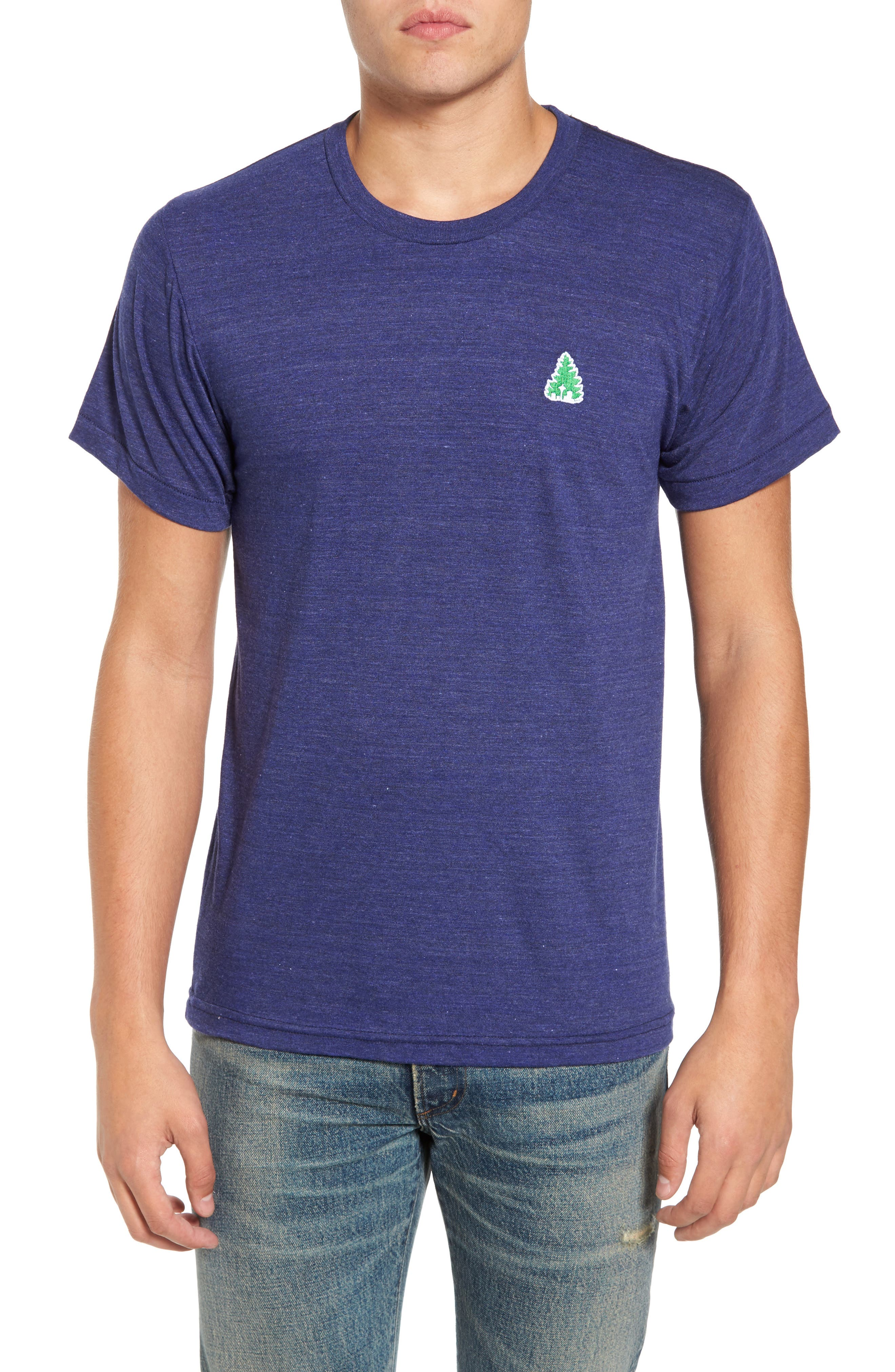 Johnny Tree Embroidered T-Shirt,                         Main,                         color, Blue