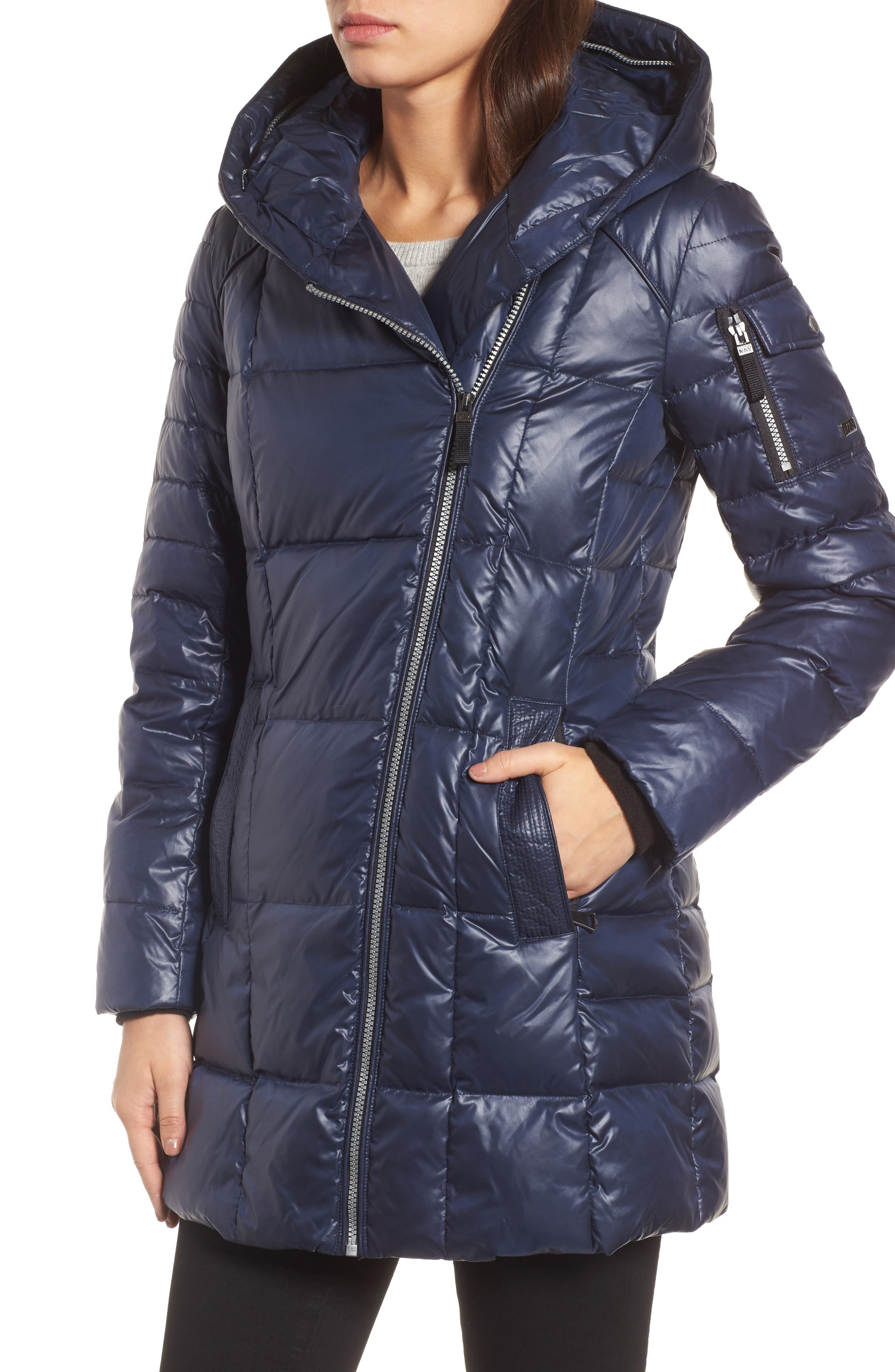 Down & Feather Fill Coat with Genuine Coyote Fur,                             Alternate thumbnail 4, color,                             Navy