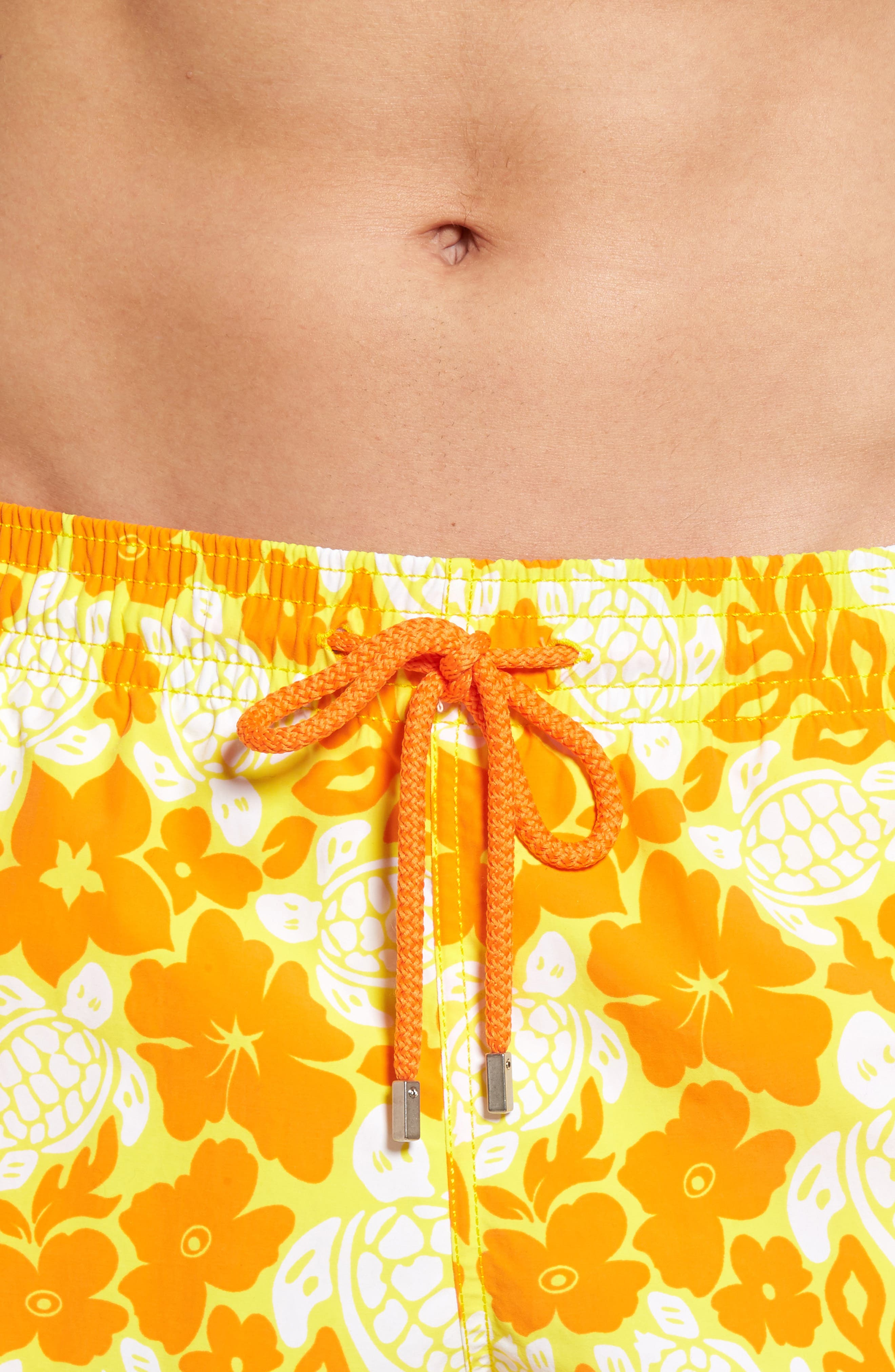 Moorea Hawaiian Turtles Swim Shorts,                             Alternate thumbnail 4, color,                             Lemon