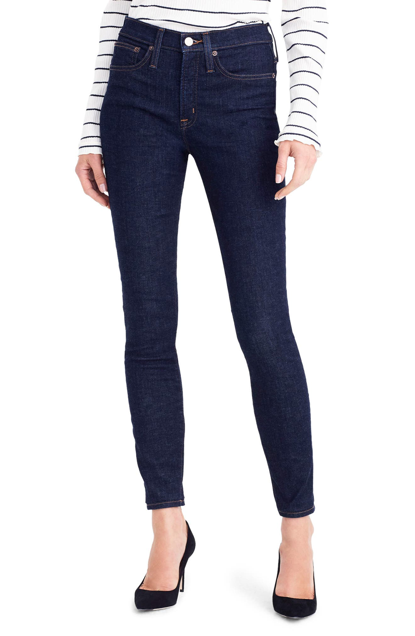 Main Image - J.Crew Toothpick High Rise Jeans (Classic Rinse)
