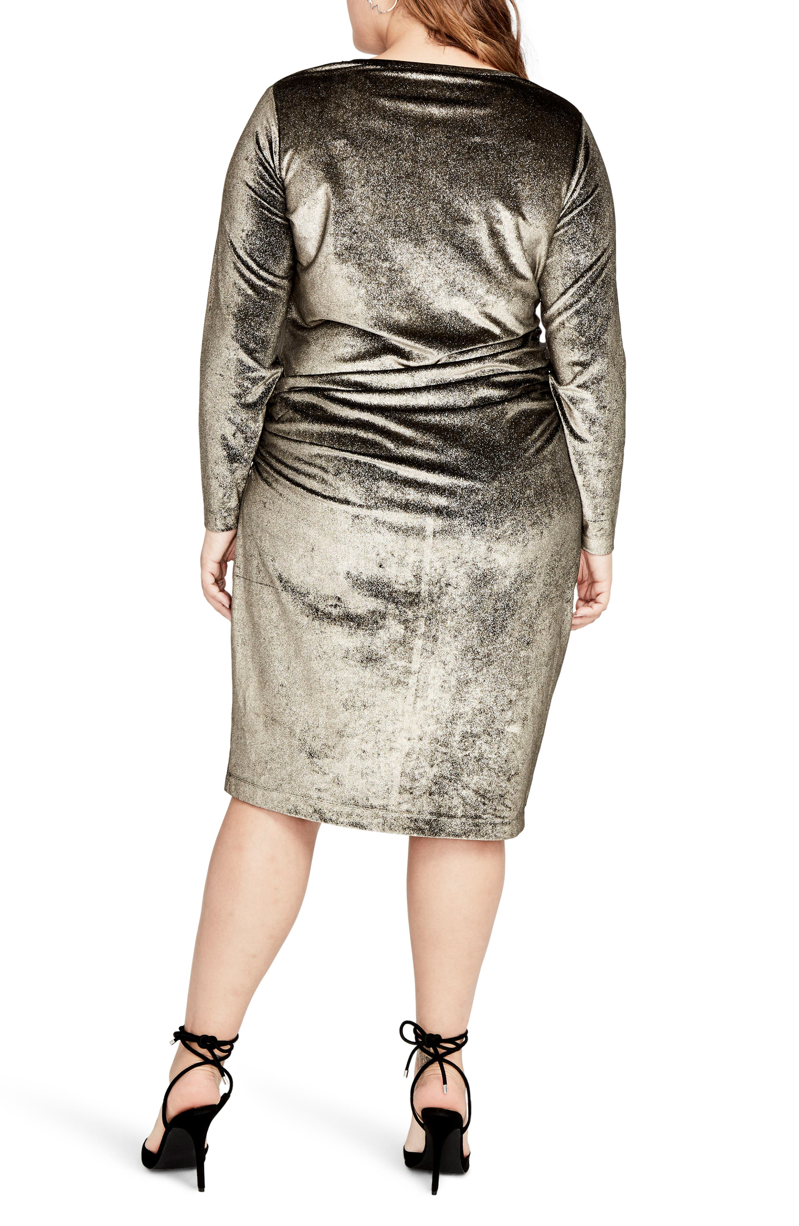 Draped Metallic Sheath Dress,                             Alternate thumbnail 2, color,                             Gold