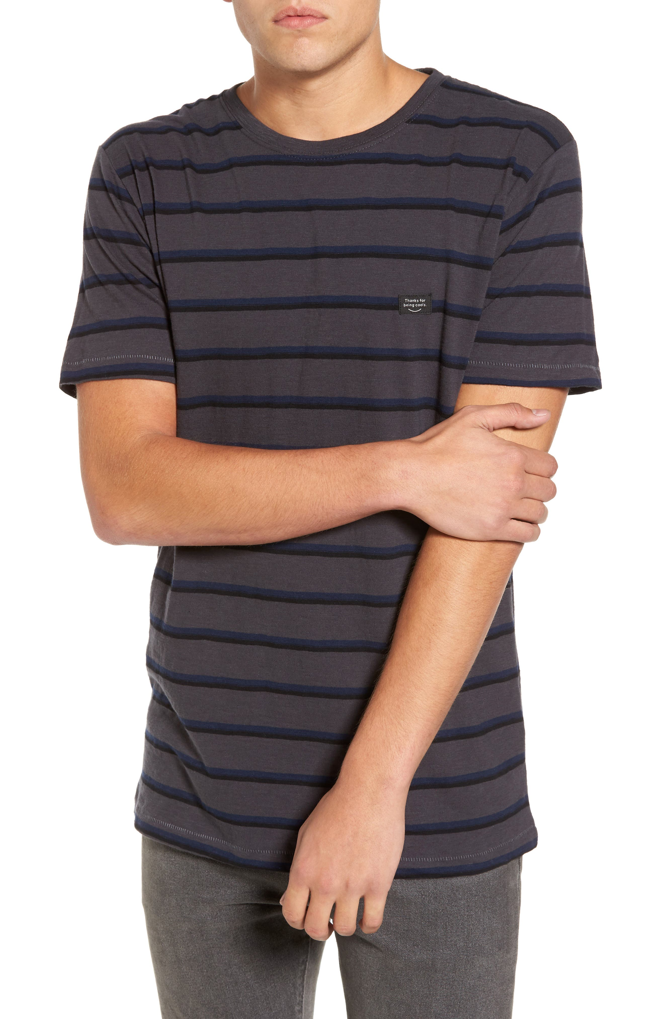 B. Thankful Striped T-Shirt,                         Main,                         color, Black Stripe