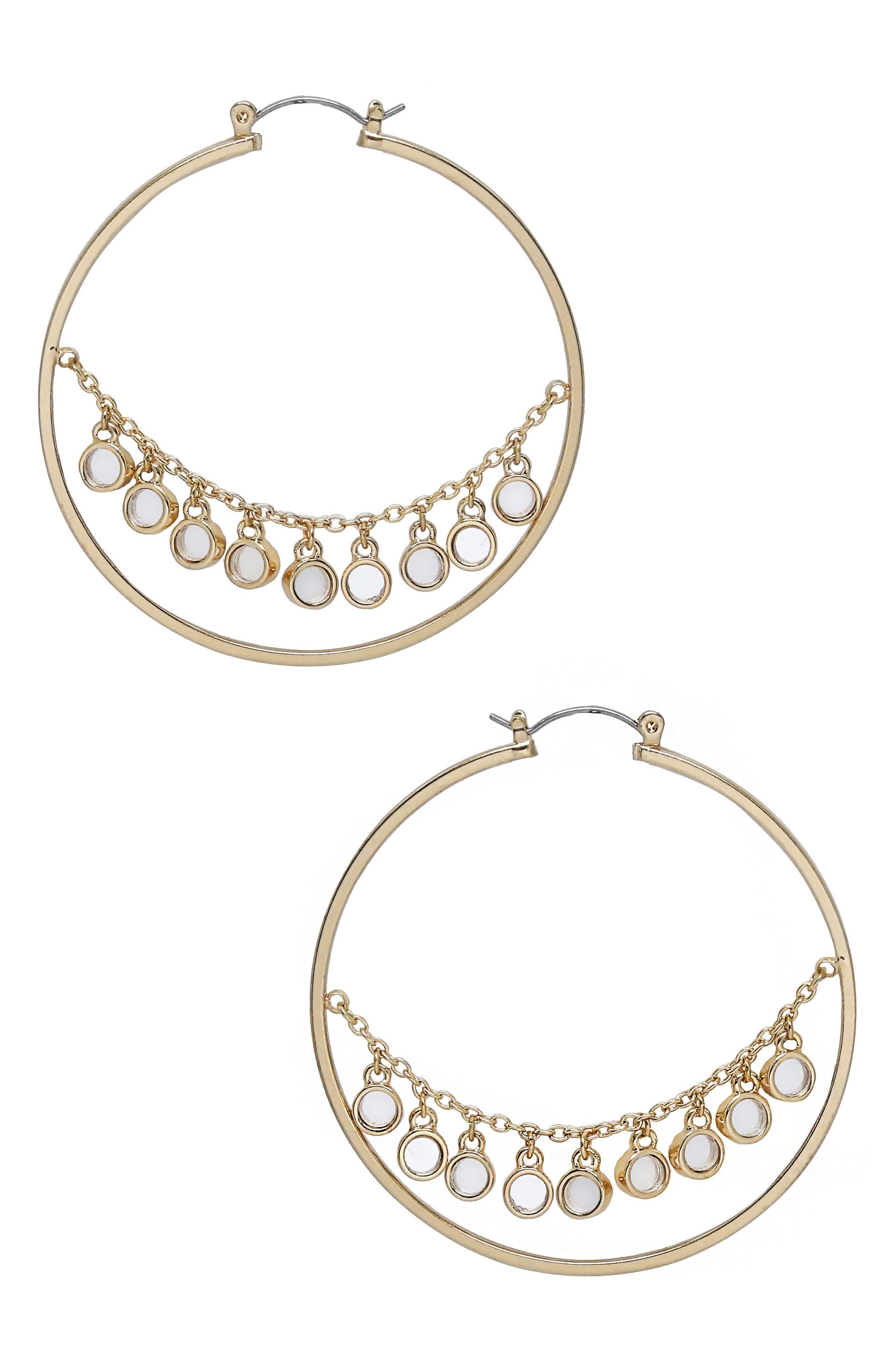 Disc Hoop Earrings,                         Main,                         color, Gold