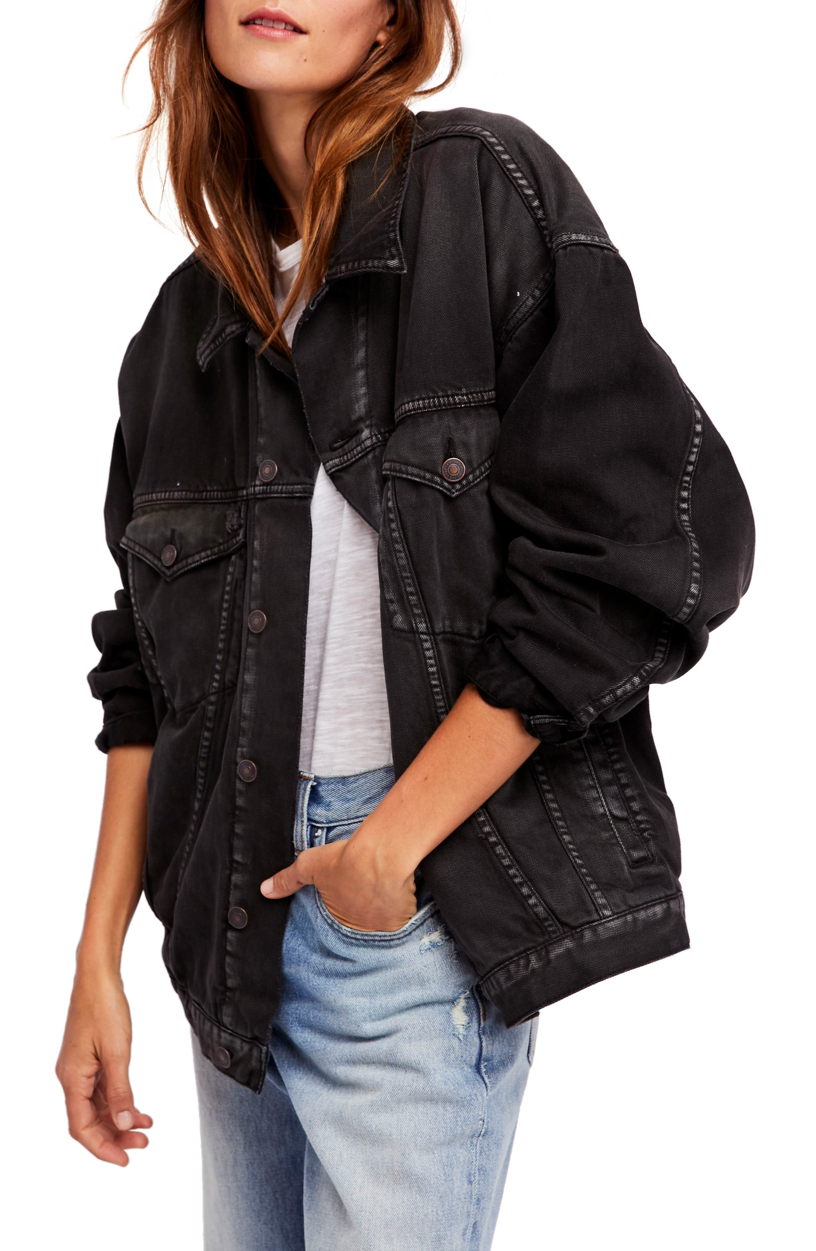 Embroidered Denim Jacket,                             Main thumbnail 1, color,                             Black