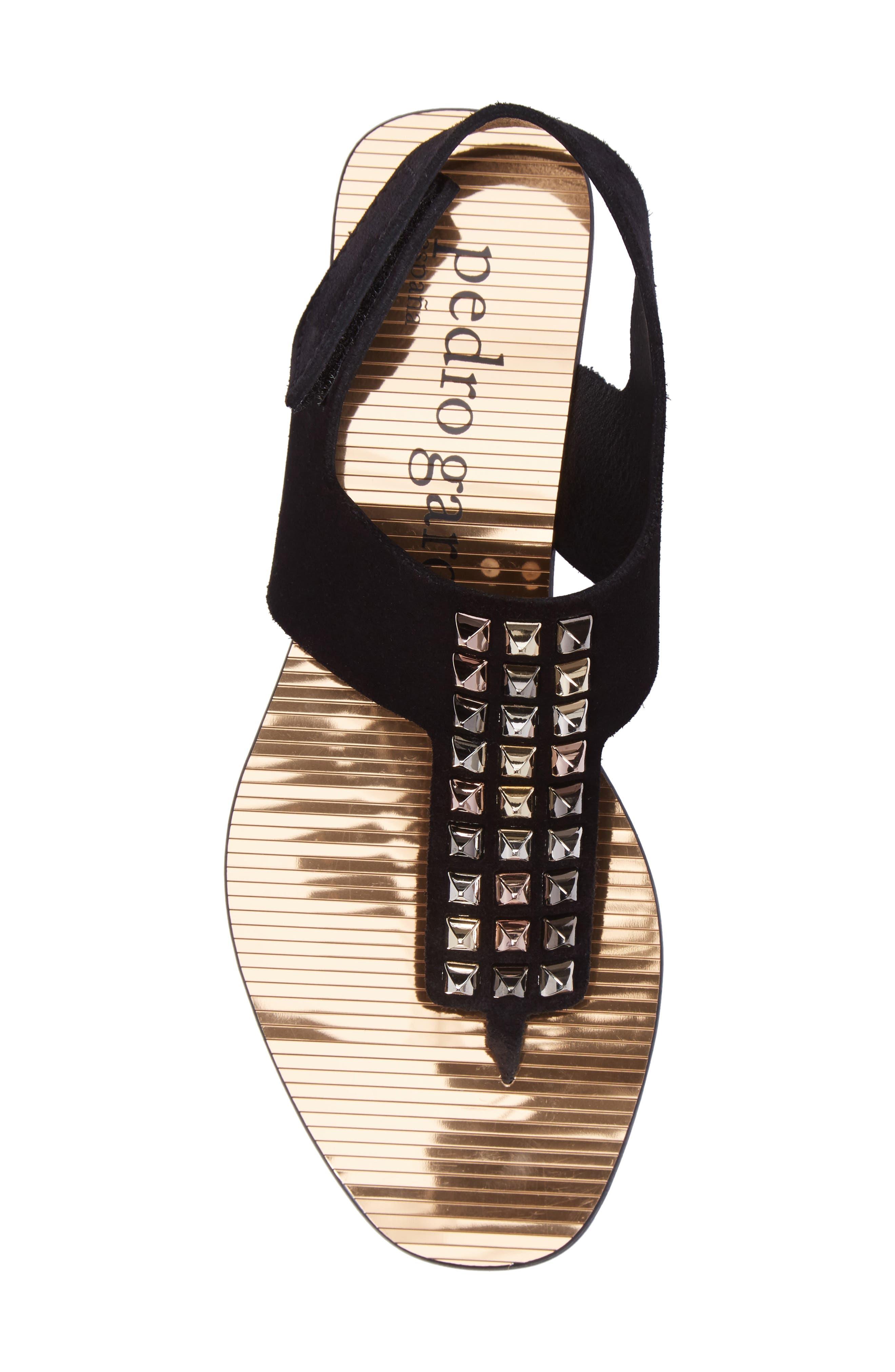 Enid Studded T-Strap Sandal,                             Alternate thumbnail 5, color,                             Black Castoro/ Gold