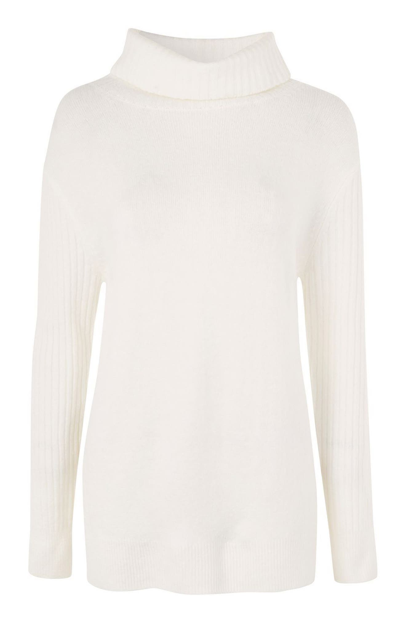 Oversize Turtleneck Sweater,                             Alternate thumbnail 4, color,                             Ivory