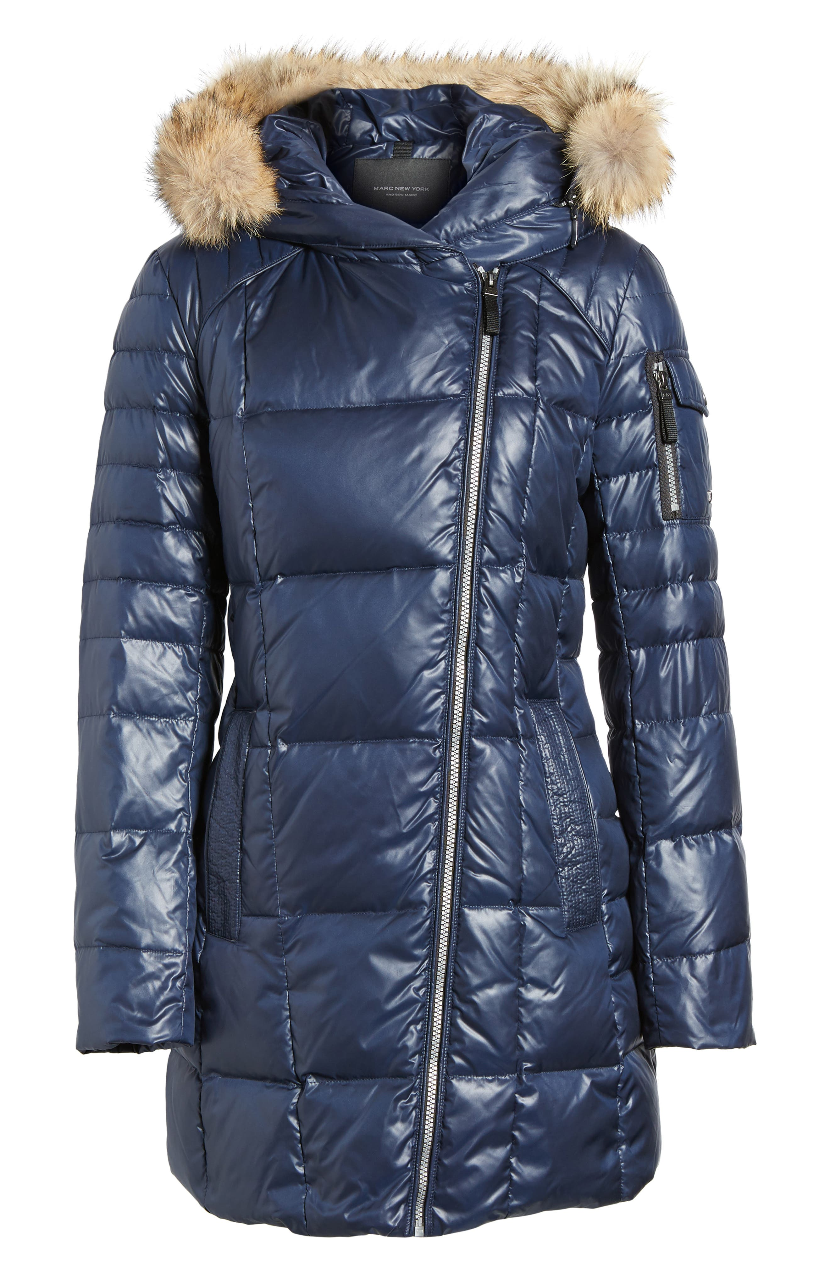 Down & Feather Fill Coat with Genuine Coyote Fur,                             Alternate thumbnail 5, color,                             Navy