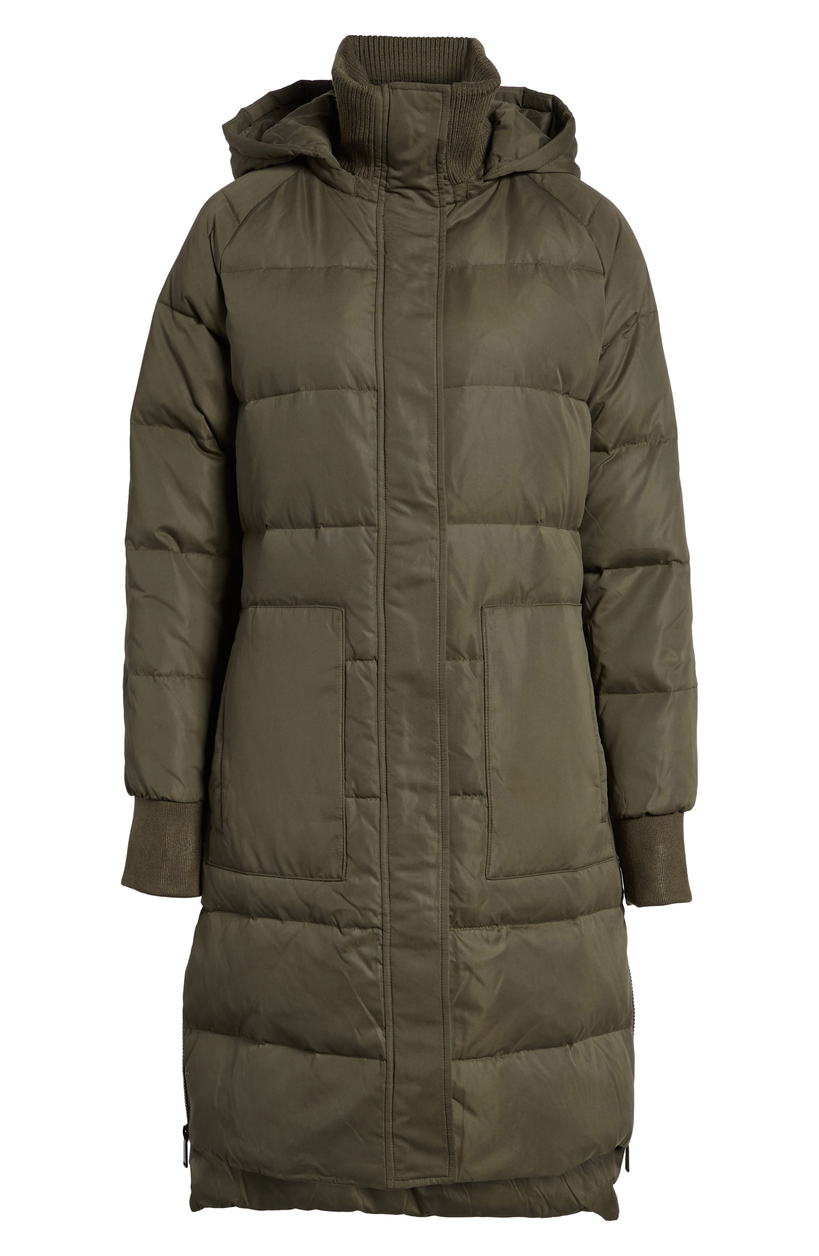 Down & Feather Fill Puffer Jacket,                         Main,                         color, Army