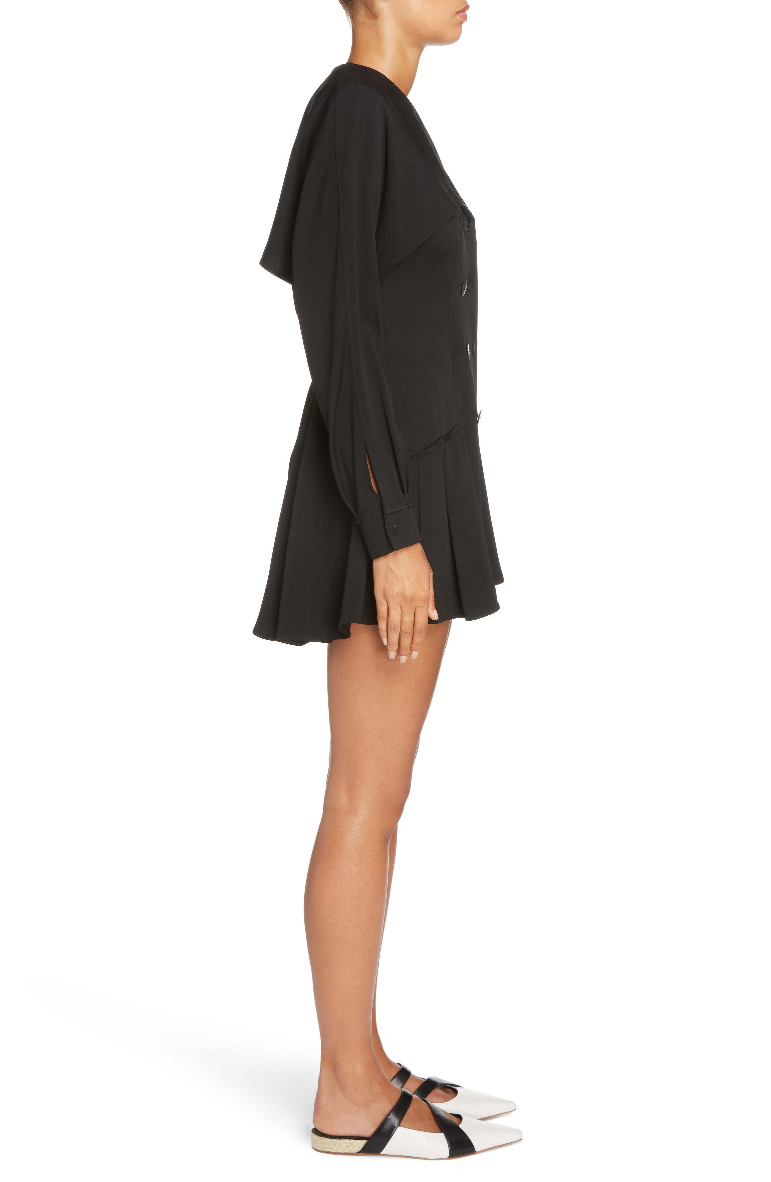 J.W.ANDERSON Double Breasted Skater Dress,                             Alternate thumbnail 3, color,                             Black