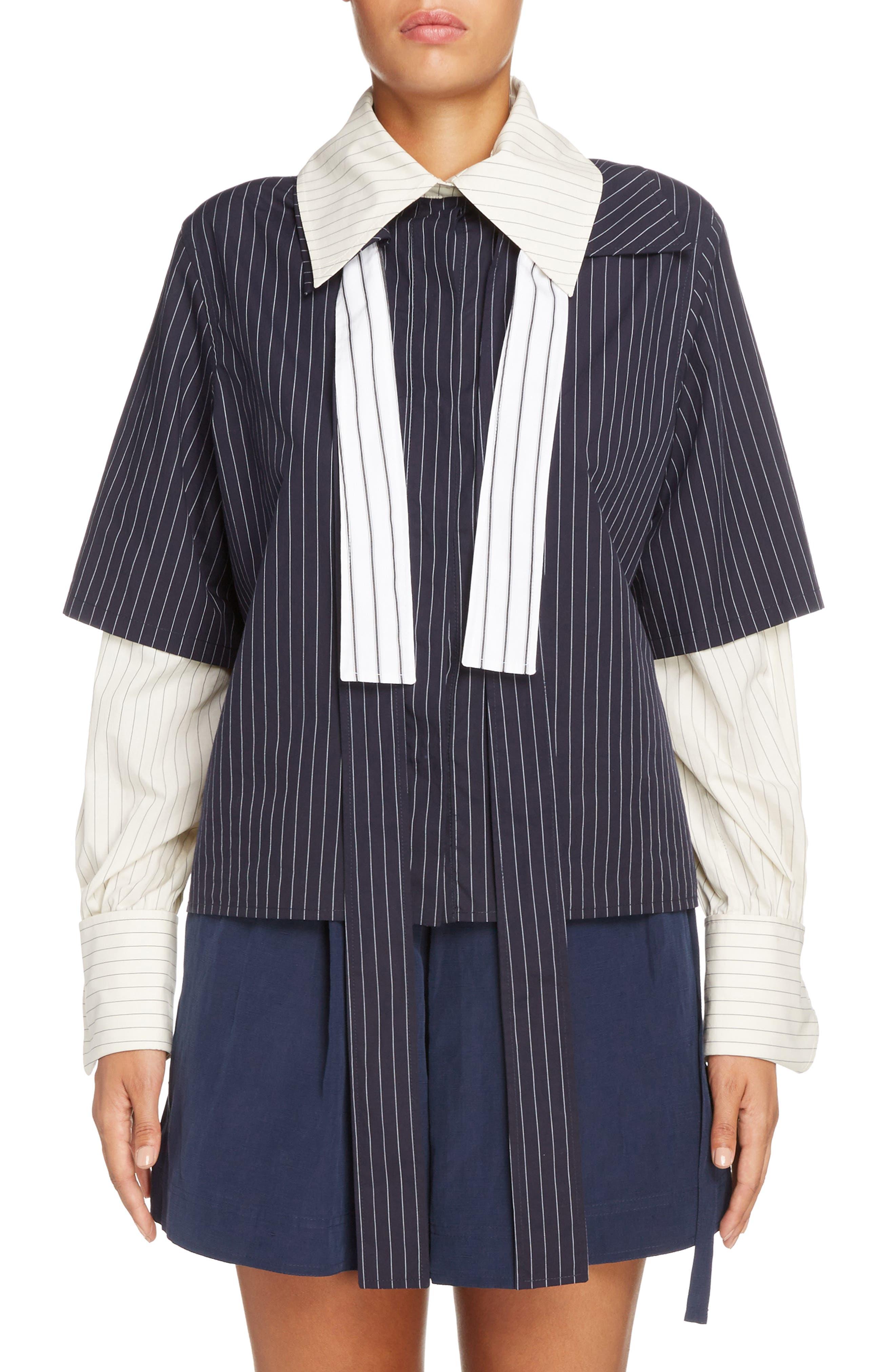 Double Layer Tie Neck Blouse,                         Main,                         color, Navy