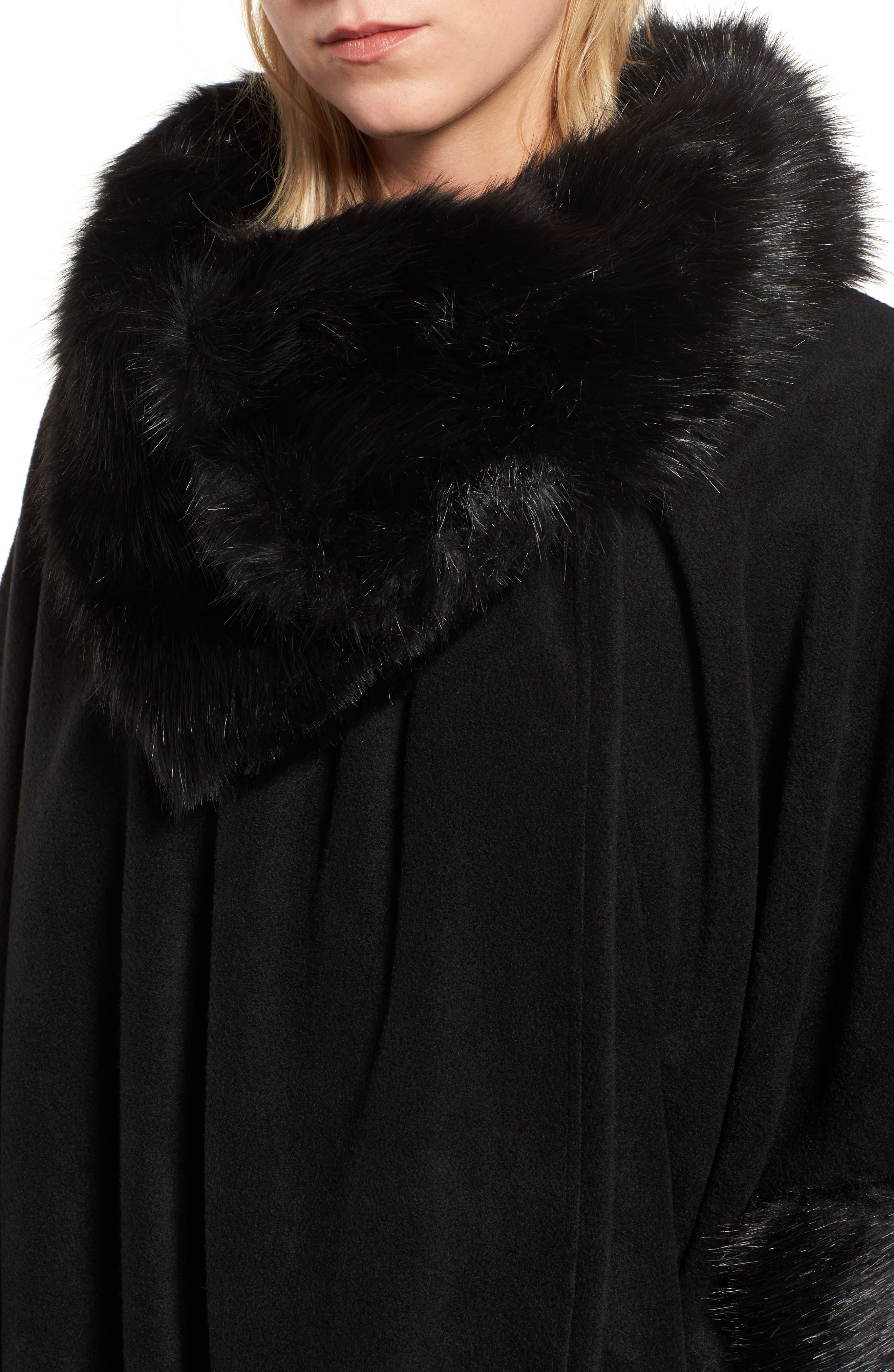 Chelsea Cape with Faux Fur Trim,                             Alternate thumbnail 4, color,                             Black/ Black Mink