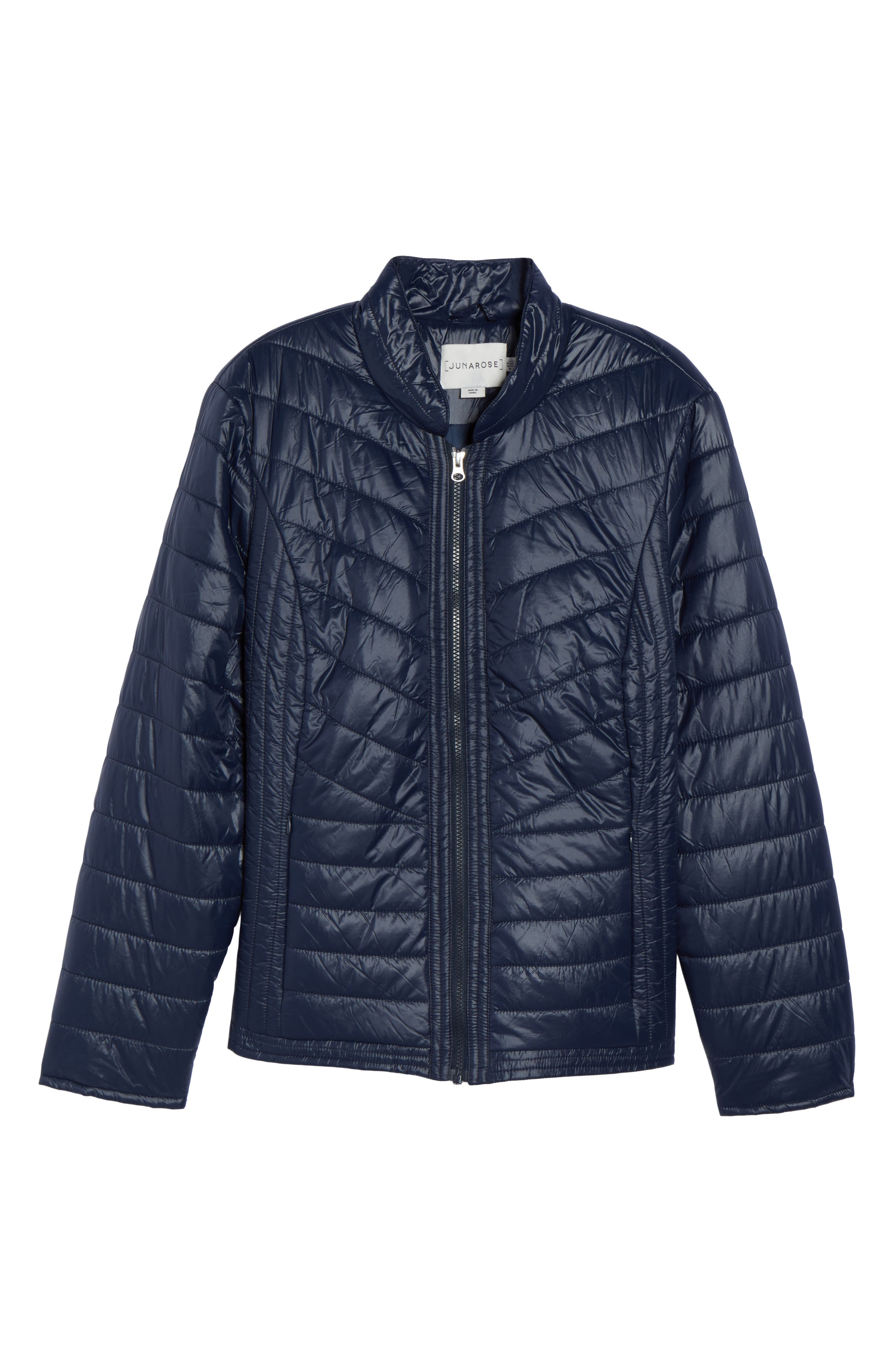 Alternate Image 5  - JUNAROSE Twisted Quilted Puffer Jacket (Plus Size)