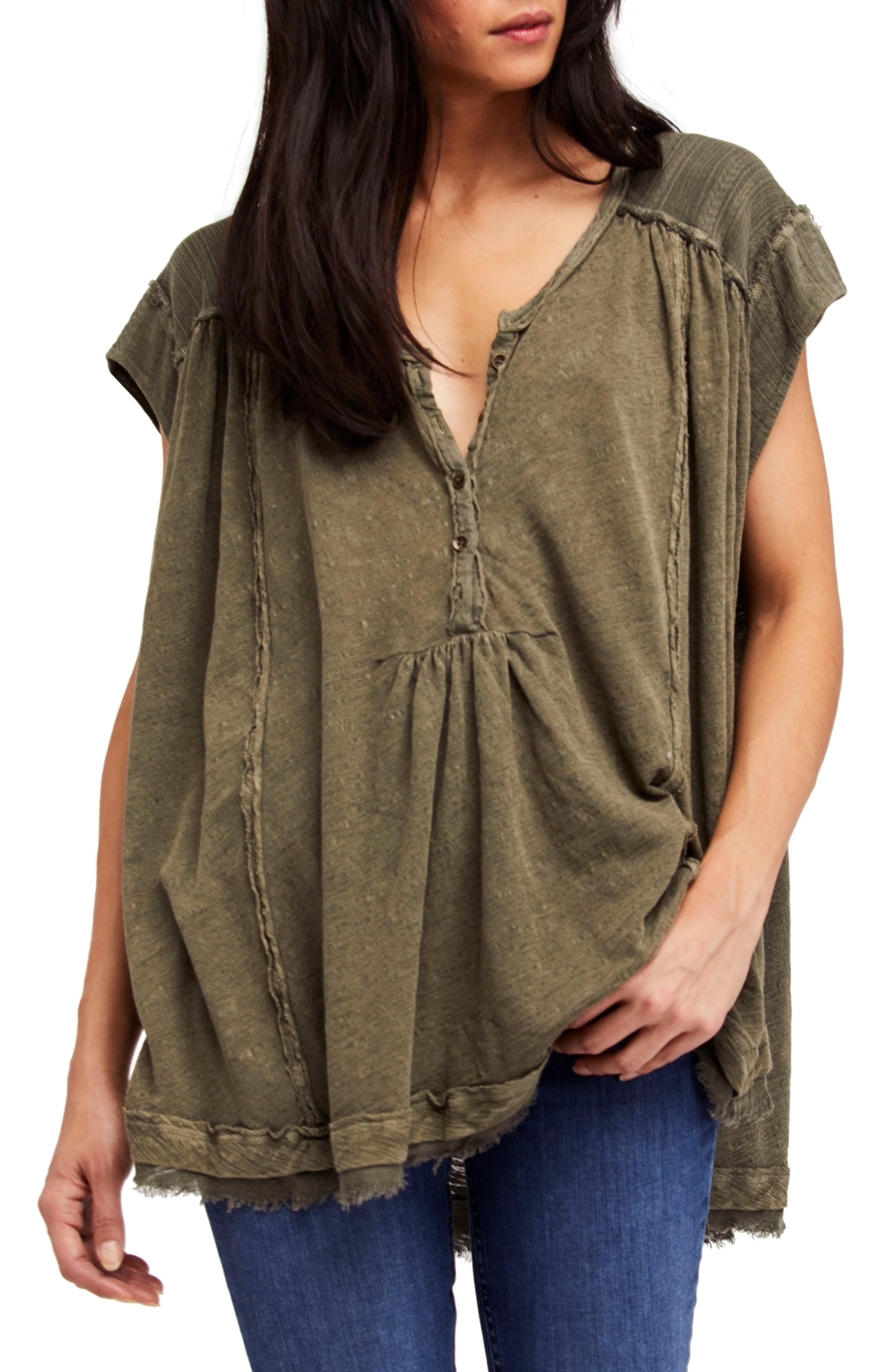 Aster Henley Top,                             Main thumbnail 1, color,                             Army